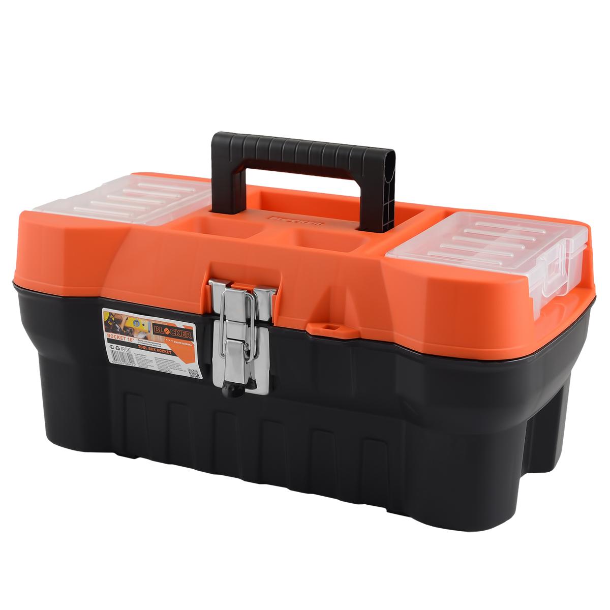 Ящик для инструментов Blocker Rocket, цвет: черный, оранжевый, 408 х 210 х 180 ммBR3913ЧРОРСовременный, функциональный и продвинутый ящик Blocker Rocket предназначен для хранения и переноски инструментов. Стальной замок помогает ящику выдерживать повышенную нагрузку. Крышка снабжена блоками для хранения мелких скобяных изделий.