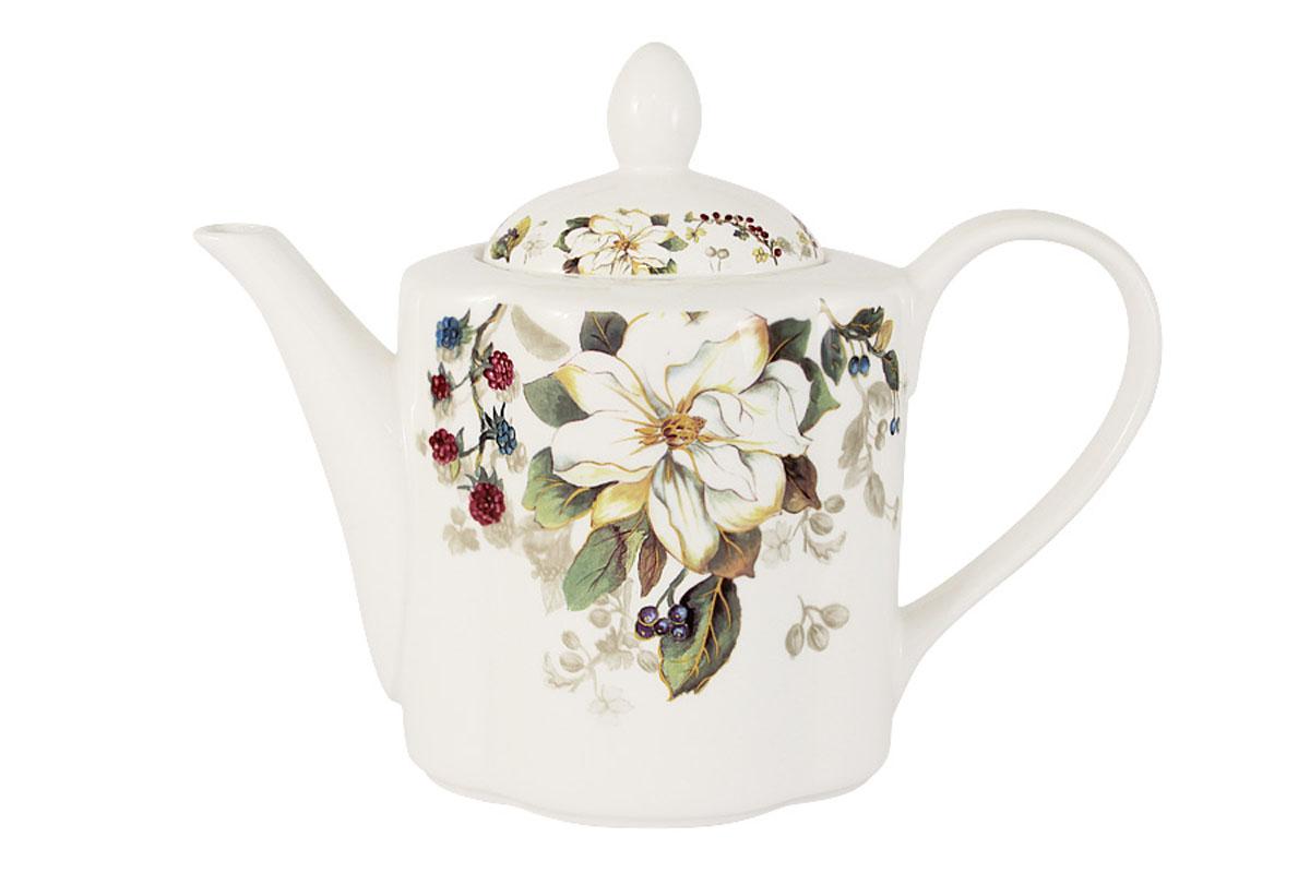 Чайник заварочный Imari Магнолия, 1 лIM15018A/1-A2119ALЗаварочный чайник Imari Магнолия изготовлен из высококачественной керамики и декорирован изображением ягод и цветов. Нанесение сверкающей глазури, не содержащей свинца, придает изделию превосходный блеск и особую прочность. Такой чайник прекрасно подойдет для сервировки стола и станет незаменимым атрибутом чаепития. Благодаря качеству исполнения и красивому дизайну он станет отличным приобретением для вашей кухни. Не использовать в СВЧ. Мыть с применением жидких моющих средств и в посудомоечной машине.