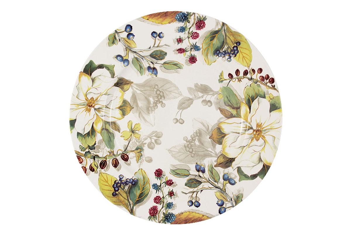 Тарелка обеденная Imari Магнолия, диаметр 27 смIMA0180H-A2119ALТарелка Imari Магнолия изготовлена из высококачественной керамики и декорирована красивым изображением цветов и ягод. Нанесение сверкающей глазури, не содержащей свинца, придает изделию превосходный блеск и особую прочность. Изделие предназначено для подачи вторых блюд. Отлично подойдет как для повседневного использования, так и для особых случаев. Благодаря качеству исполнения и красивому дизайну изделие станет отличным приобретением для вашей кухни. Не использовать в СВЧ. Мыть с применением жидких моющих средств и в посудомоечной машине.