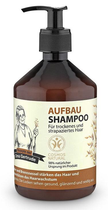 Рецепты бабушки Гертруды Шампунь для волос восстанавливающий, 500 мл074-4848В состав шампуня входят природные компоненты благодаря чему он бережно очищает и ухаживает за сухими и поврежденными волосами, восстанавливает структуру, возвращая здоровье и природный блеск. Органический экстракт овса содержит необходимые витамины и аминокислоты, которые способствуют интенсивному увлажнению и укреплению волос, делая их более гладкими и сияющими. Органический экстракт крапивы содержит витамины, органические кислоты, воск и фитонциды, которые способствуют улучшению структуры волос и ускорению их роста. Особенности состава: 98% ингредиентов натурального происхождения, Овес и крапива хорошо подходят для укрепления волос, усиления их роста. Результат: локоны выглядят здоровыми, блестящими и шелковистыми.