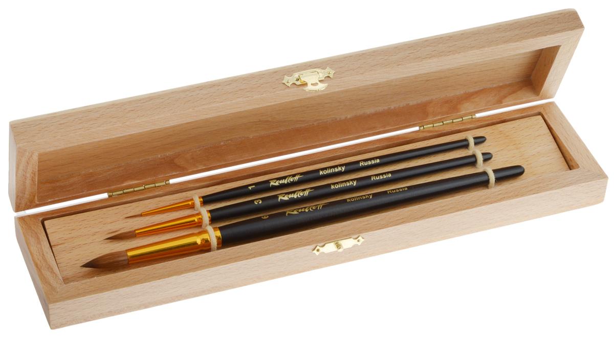 Набор кистей Rubloff №6, колонок, в футляре, 3 штPP-220Кисти из набора Rubloff 6 идеально подойдут для художественных и декоративно-оформительских работ. В набор входят круглые кисти №1, 3, 6. Щетина изготовлена из волоса колонка. Деревянные длинные ручки оснащены анодированными втулками с двойной обжимкой из алюминия. В комплект входит буковый футляр. Длина кистей: №1 - 21 см; №3 - 19 см; №6 - 17,8 см.Длина пучка: №1 - 7 мм; №3 - 1,5 см; №6 - 2 см.Размер футляра: 27 х 6,5 х 3 см.