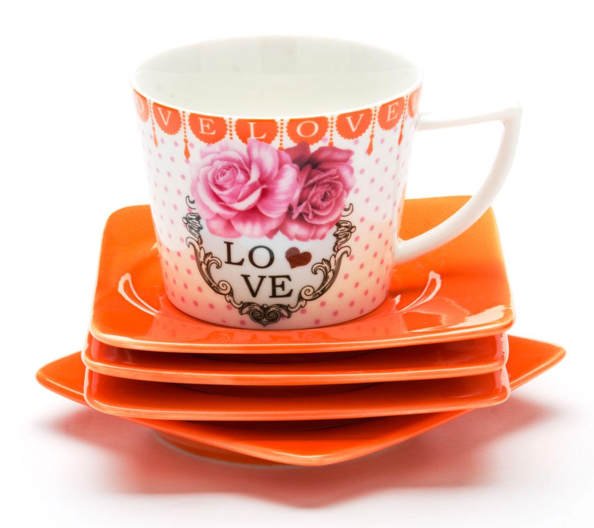 Набор кофейный Mayer & Boch, 12 предметов. 2471824718Кофейный набор Mayer & Boch состоит из 6 чашек и 6 блюдец, выполненных из высококачественой керамики. Чашка оформлена ярким изображением и надписью Love. Изящный дизайн и красочность оформления придутся по вкусу и ценителям классики, и тем, кто предпочитает современный стиль. Чайный набор - идеальный и необходимый подарок для вашего дома и для ваших друзей в праздники, юбилеи и торжества! Он также станет отличным корпоративным подарком и украшением любой кухни. Набор упакован в подарочную коробку из плотного цветного картона. Внутренняя часть коробки задрапирована белым атласом. Диаметр чашки: 5 см. Высота чашки: 6,5 см. Объем чашки: 100 мл. Размеры блюдца: 9,5 х 9,5 х 1 см.