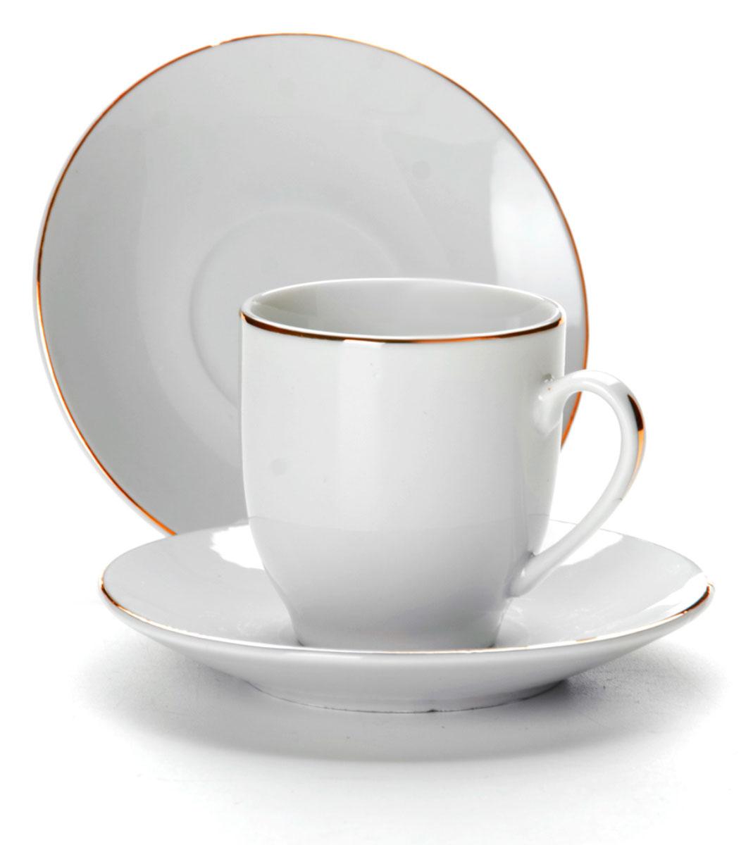 Набор кофейный Loraine, 12 предметов. 2560925609Набор имеет красивый нежный дизайн. Состоит из 12 предметов: чашка-6 шт (90 мл) и блюдце-6 шт. Набор изготовлен из качественной керамики. Керамика безопасна для здоровья и надолго сохраняет тепло напитка. Изысканно белый цвет с золотым декором придает набору элегантный вид. Набор аккуратно сложен в подарочную упаковку. Размеры: чашка - D6х5,5см, блюдце - D10,5см. Станет прекрасным украшением сервировки стола, а процесс чаепития превратится в одно удовольствие! Прекрасный выбор для подарка родным и друзьям.