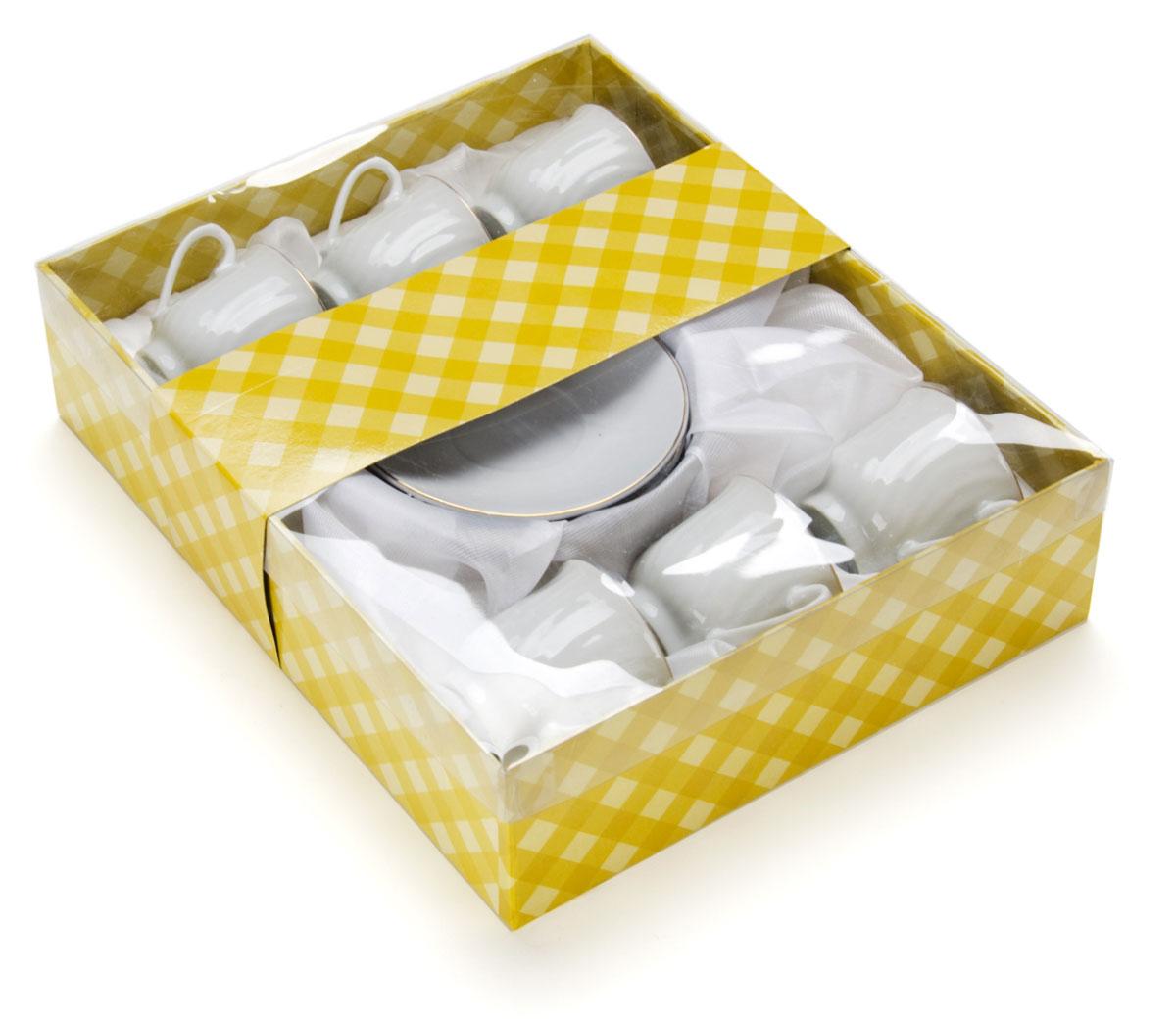Набор кофейный Loraine, 12 предметов. 2561025610Набор имеет красивый нежный дизайн. Состоит из 12 предметов: чашка-6 шт (90 мл) и блюдце-6 шт. Набор изготовлен из качественной керамики. Керамика безопасна для здоровья и надолго сохраняет тепло напитка. Изысканно белый цвет с золотым декором придает набору элегантный вид. Набор аккуратно сложен в подарочную упаковку. Размеры: чашка - D6х5,5см, блюдце - D10,5см. Станет прекрасным украшением сервировки стола, а процесс чаепития превратится в одно удовольствие! Прекрасный выбор для подарка родным и друзьям.