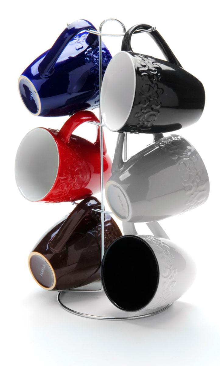 Набор чашек Loraine, на подставке, 390 мл, 7 предметов. 24653115610Этот набор состоит из шести кружек, расположенных на металлической подставке. Кружки изготовлены из высококачественной керамики и оформлены стильным рисунком Кофе. Изящный дизайн придется по вкусу и ценителям классики, и тем, кто предпочитает утонченность и изысканность. Он настроит на позитивный лад и подарит хорошее настроение с самого утра. Набор кружек LORAINE - идеальный и необходимый подарок для вашего дома и для ваших друзей в праздники.