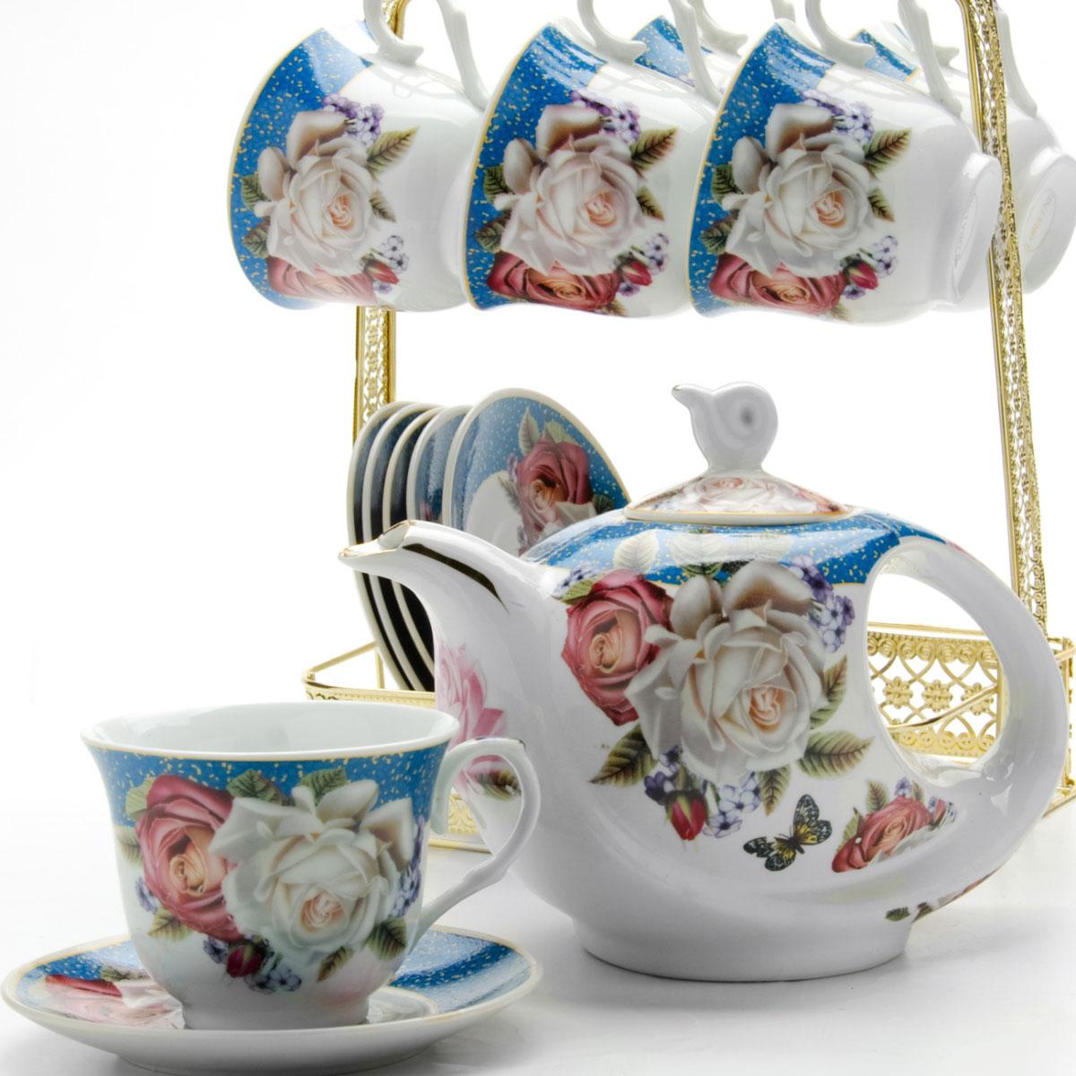Набор чайный Loraine, на подставке, 15 предметов. 2478624786Чайный набор LORAINE состоит из шести чашек, шести блюдец и заварочного чайника. Предметы набора изготовлены из керамики и оформлены изображением цветов и бабочек. Все предметы располагаются на удобной металлической подставке с ручкой. Элегантный дизайн набора придется по вкусу и ценителям классики, и тем, кто предпочитает утонченность и изысканность. Он настроит на позитивный лад и подарит хорошее настроение с самого утра. Чайный набор LORAINE идеально подойдет для сервировки стола и станет отличным подарком к любому празднику.