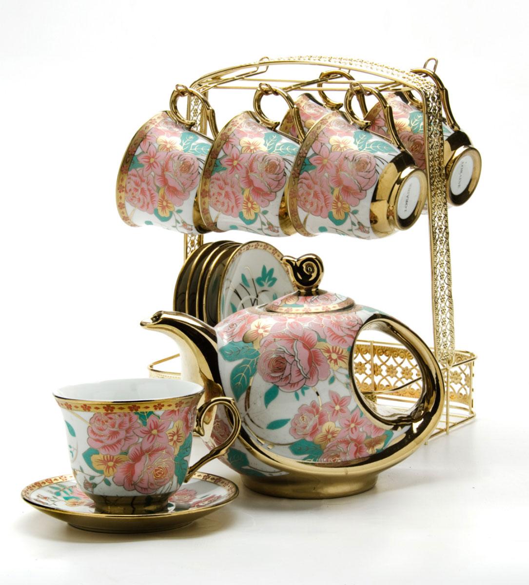 Набор чайный Loraine, на подставке, 15 предметов. 2478324783Чайный набор LORAINE состоит из шести чашек, шести блюдец и заварочного чайника. Предметы набора изготовлены из керамики и оформлены изображением цветов и бабочек. Все предметы располагаются на удобной металлической подставке с ручкой. Элегантный дизайн набора придется по вкусу и ценителям классики, и тем, кто предпочитает утонченность и изысканность. Он настроит на позитивный лад и подарит хорошее настроение с самого утра. Чайный набор LORAINE идеально подойдет для сервировки стола и станет отличным подарком к любому празднику.