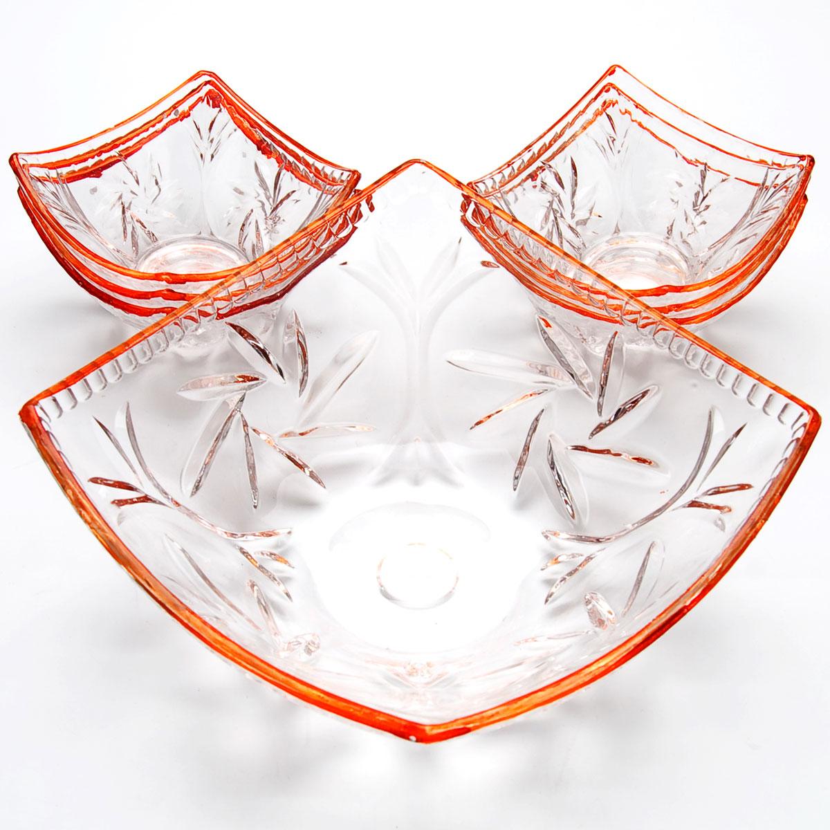 Набор салатников Mayer & Boch, 7 предметов. 2276222762Набор, выполненный из высококачественного стекла и декорированный рельефным рисунком, состоит из шести маленьких и одной большой пиалы. Пиалы прекрасно подойдут для сервировки стола и станут достойным оформлением для ваших любимых блюд. Изящный дизайн, высокое качество и функциональность набора позволят ему стать достойным дополнением к вашему кухонному инвентарю. 49х25х14см 2,35 л