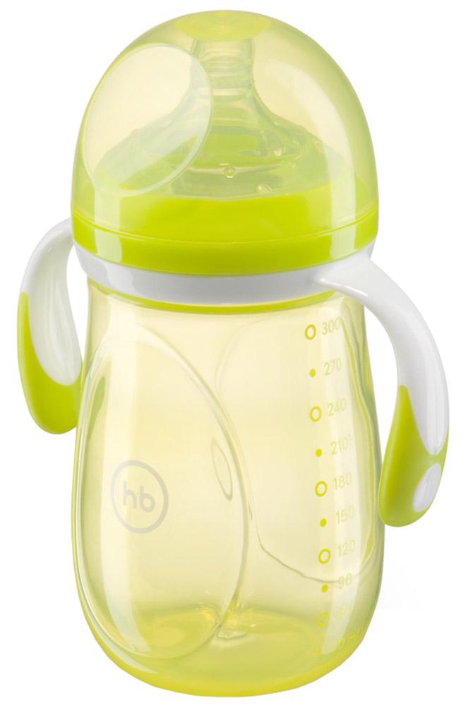 Happy Baby Бутылочка для кормления с ручками и антиколиковой силиконовой соской цвет салатовый 300 мл 10009_салатовый