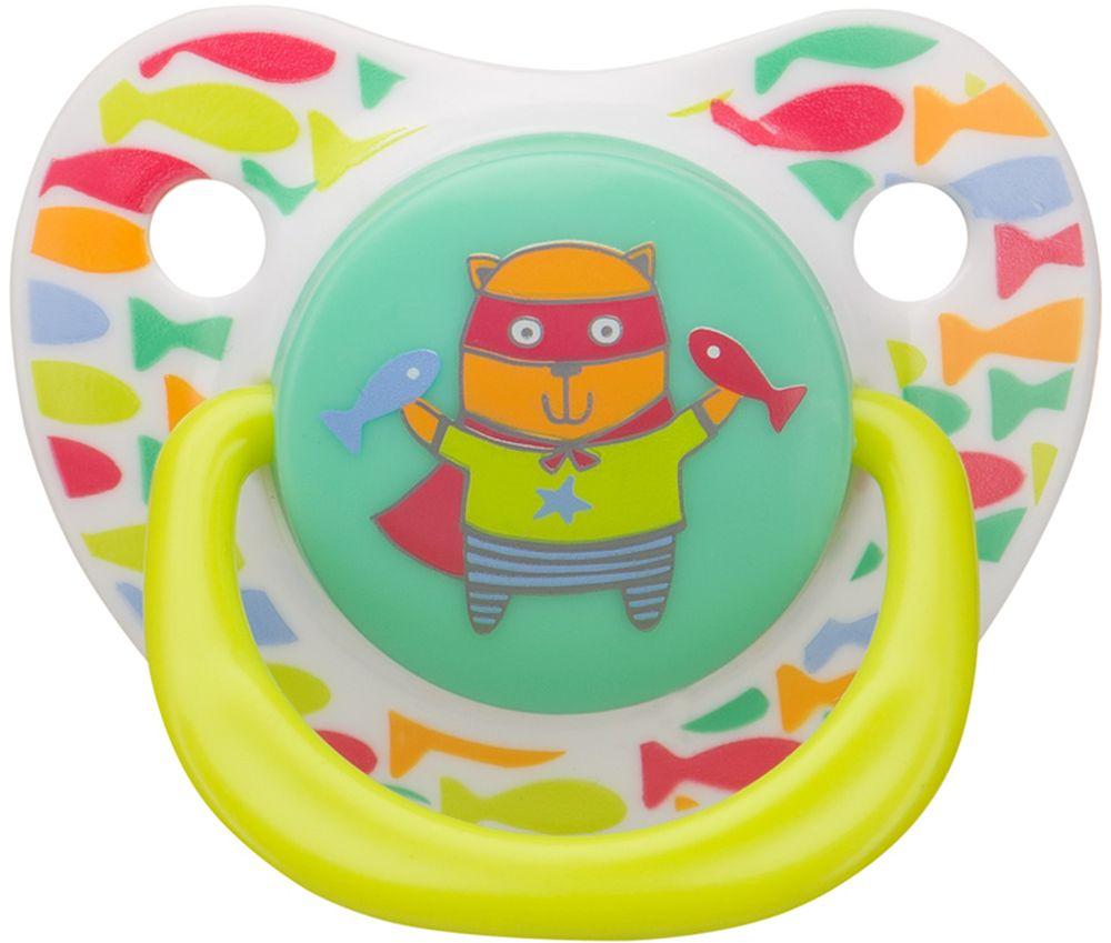 Happy Baby Соска-пустышка ортодонтическая силиконовая с колпачком Кошечка от 12 до 24 месяцев 13012/1_белый, салатовый, бирюзовый