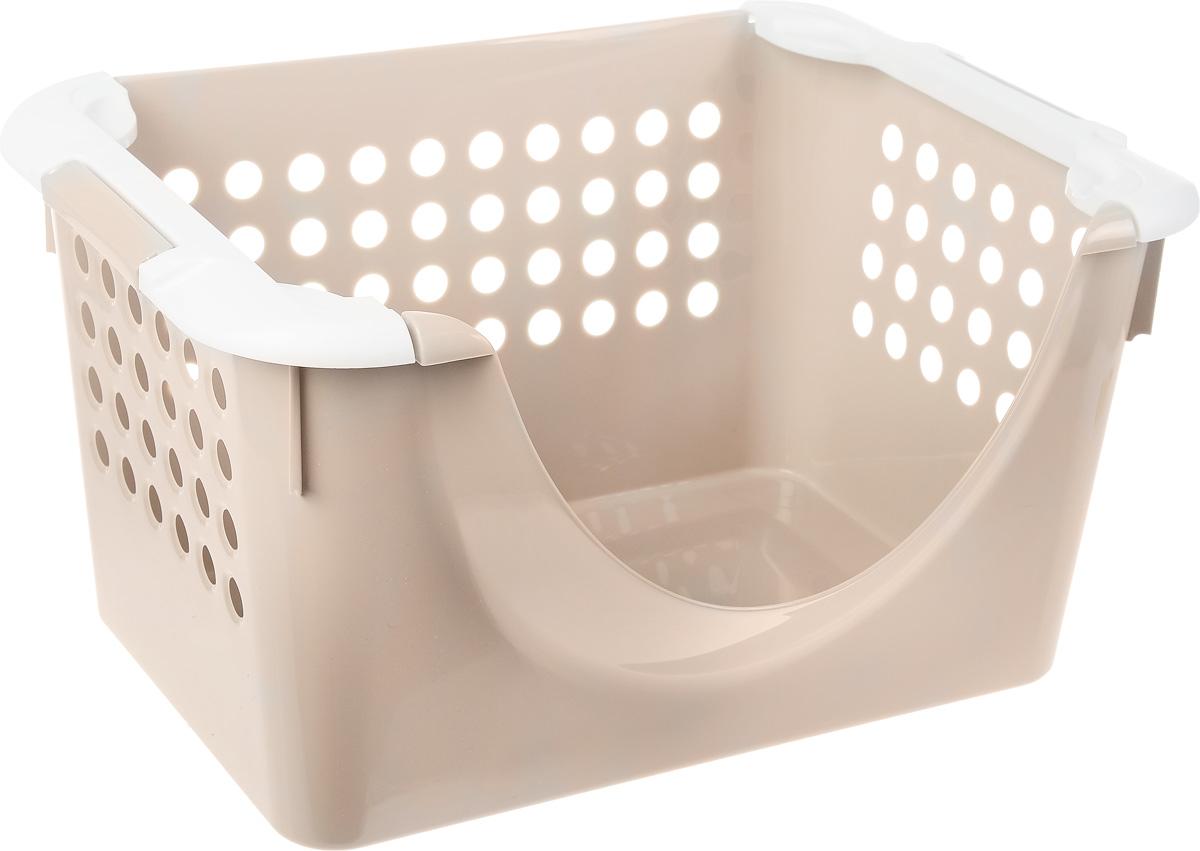 Корзинка универсальная Econova, с ручками, цвет: бежевый, белый, 31 х 23 х 42,5 см780869_бежевый,белыйУниверсальная корзина Econova, выполненная из прочного пластика, предназначена для хранения вещей в ванной, на кухне, даче или гараже. Позволяет хранить вещи, исключая возможность их потери. Корзина оснащена двумя удобными ручками для переноски. Боковые стенки перфорированы.