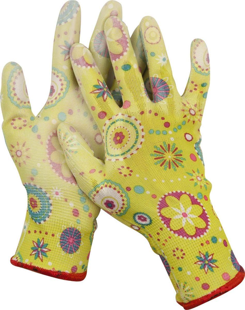 Перчатки садовые Grinda. Размер M11290-MСадовые перчатки Grinda - надежная защита женских рук при работе в саду. Полиуретановое покрытие обеспечивает устойчивость ладонной части к проникновению влаги. Комфортны в использовании благодаря вентиляции тыльной части перчатки. Эластичны и плотно облегают кисть, что обеспечивает дополнительное удобство. Надежно защищают руки от грязи и проникновения земли внутрь перчатки. Сохраняют тактильную чувствительность пальцев благодаря технологии бесшовной вязки. Размер перчаток: M.