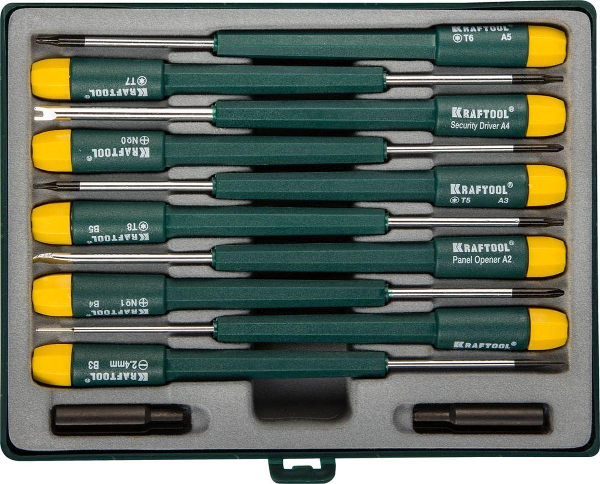 Набор отверток Kraftool, для ремонта мобильных телефонов, 12 предметов80625Набор отверток Kraftool предназначен для ремонтных работ мобильных телефонов, а также для сборки и ремонта часов. Набор включает 10 отверток (SL2; PH0; PH1; TORX T5-T8; СА), а также специальные отвертки: security driver A4; panel opener A2; cover opener A1. Имеются две дополнительные насадки. Стержни отверток с круглым сечением изготовлены из легированной стали. Наконечники стержней имеют износостойкое антикоррозионное покрытие. Удобные пластиковые рукоятки эргономичной формы снабжены вращающимся затыльником. Удобный пластиковый кейс с прозрачной верхней крышкой и хомутом для подвеса обеспечивает удобство транспортировки и хранения набора.