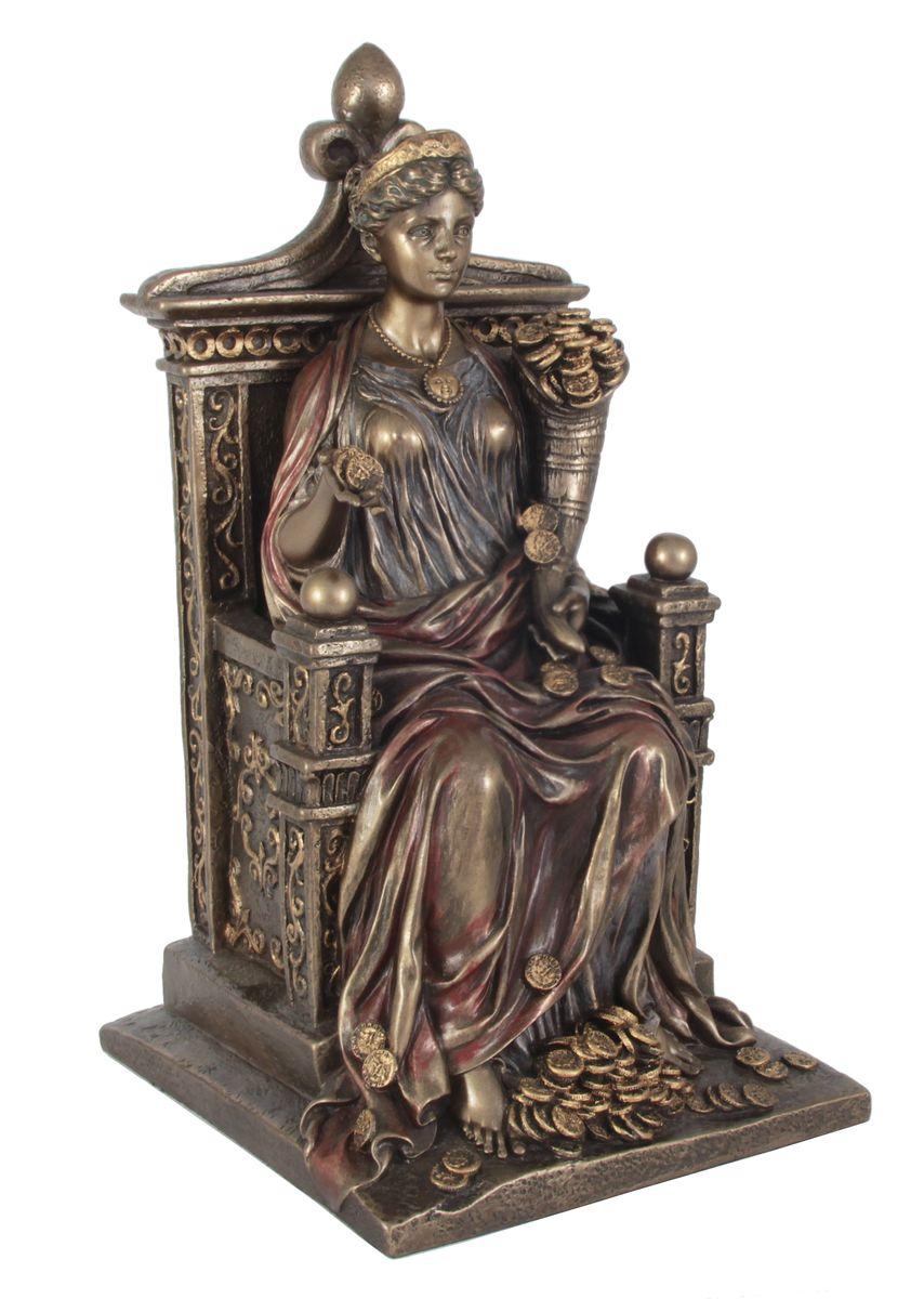 Статуэтка Veronese Фортуна, высота 26 смVWU72737V4ALДекоративная статуэтка Veronese Фортуна изготовлена из полистоуна бронзового цвета. Изделие выполнено в виде древнеримской богини удачи - Фортуны, сидящей на троне с рогом изобилия. Вы можете поставить статуэтку в любом месте, где она будет удачно смотреться и радовать глаз. Такая фигурка прекрасно дополнит интерьер офиса или дома. Veronese - это торговая марка, представляющая широкий ассортимент художественных изделий из полистоуна, выполненных по эскизам итальянских дизайнеров и художников.