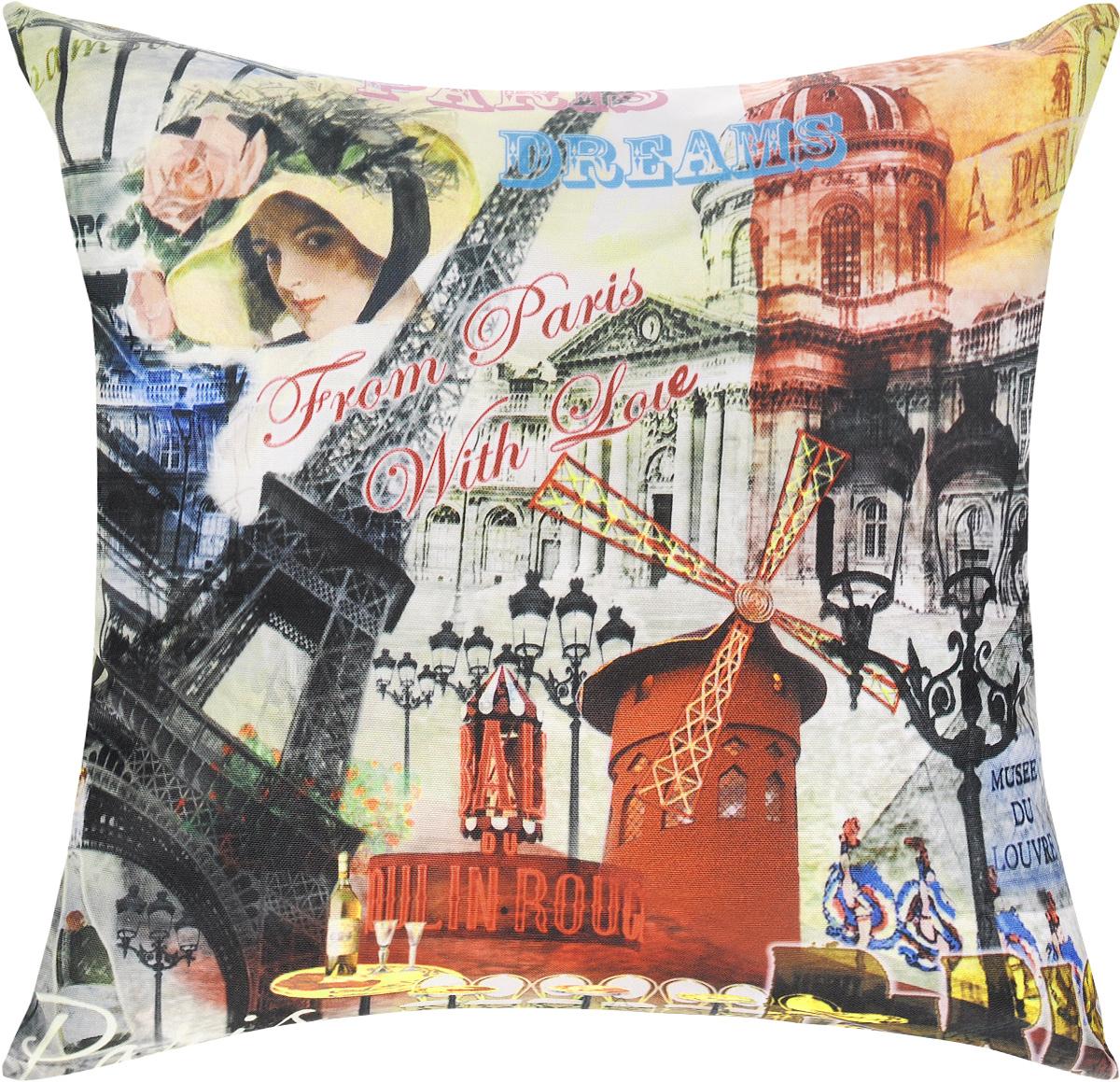 Подушка декоративная GiftnHome Парижские фантазии, 40 х 40 cмES-412Декоративная подушка GiftnHome Парижские фантазии - это яркое украшение вашего дома. Чехол выполнен из ткани Оксфорд и украшен красочным изображением. Внутренний наполнитель подушки - холлофайбер. Чехол застегивается на молнию.Красивая подушка создаст в доме уют и станет прекрасным элементом декора.