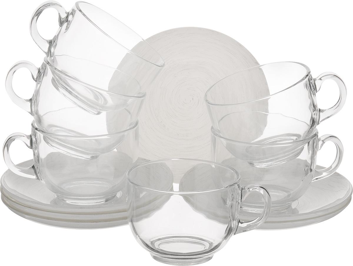 Набор чайный Luminarc Stonemania, цвет: прозрачный, белый, 12 предметовH3763Чайный набор Luminarc Stonemania состоит из 6 чашек и 6 блюдец. Изделия, выполненные из высококачественного ударопрочного стекла, имеют элегантный дизайн и классическую круглую форму. Посуда отличается прочностью, гигиеничностью и долгим сроком службы, она устойчива к появлению царапин и резким перепадам температур. Такой набор прекрасно подойдет как для повседневного использования, так и для праздников. Чайный набор Luminarc Stonemania - это не только яркий и полезный подарок для родных и близких, это также великолепное дизайнерское решение для вашей кухни или столовой. Изделия можно мыть в посудомоечной машине и использовать в СВЧ-печи. Объем чашки: 220 мл. Диаметр чашки (по верхнему краю): 8,3 см. Высота чашки: 6,2 см. Диаметр блюдца (по верхнему краю): 14 см. Высота блюдца: 1,7 см.