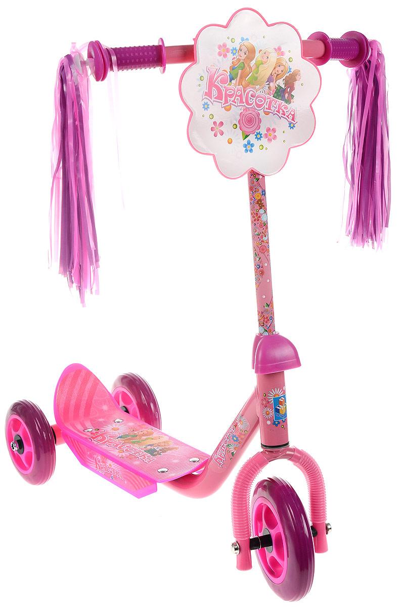 1TOY Самокат детский трехколесный Красотка цвет розовый