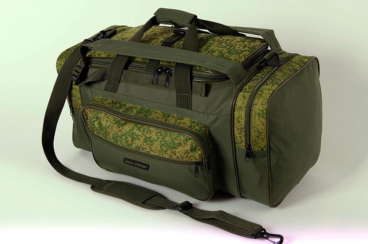 Сумка-рюкзак Solaris, цвет : оливковый, 52 л. S5202a026124Большая дорожная сумка-рюкзак из высококачественной износостойкой непромокаемой ткани ПВХ идеально подойдёт для поездок на охоту и рыбалку, пикников, длительных командировок, занятий спортом, автопутешествий, а также для проведения отпуска. Сумка имеет две дополнительные плечевые лямки и её удобно использовать в качестве рюкзака. Неиспользуемые плечевые лямки можно зафиксировать при помощи ремня с пряжкой (на клапане центрального отделения). Сумку также можно переносить на одном плече с помощью основной плечевой лямки. Сумка имеет 5 отделений: основное отделение, два больших торцевых кармана, два накладных боковых кармана. Общий объём сумки: 52 литра. Размеры: 62 х 30 х 28 см.