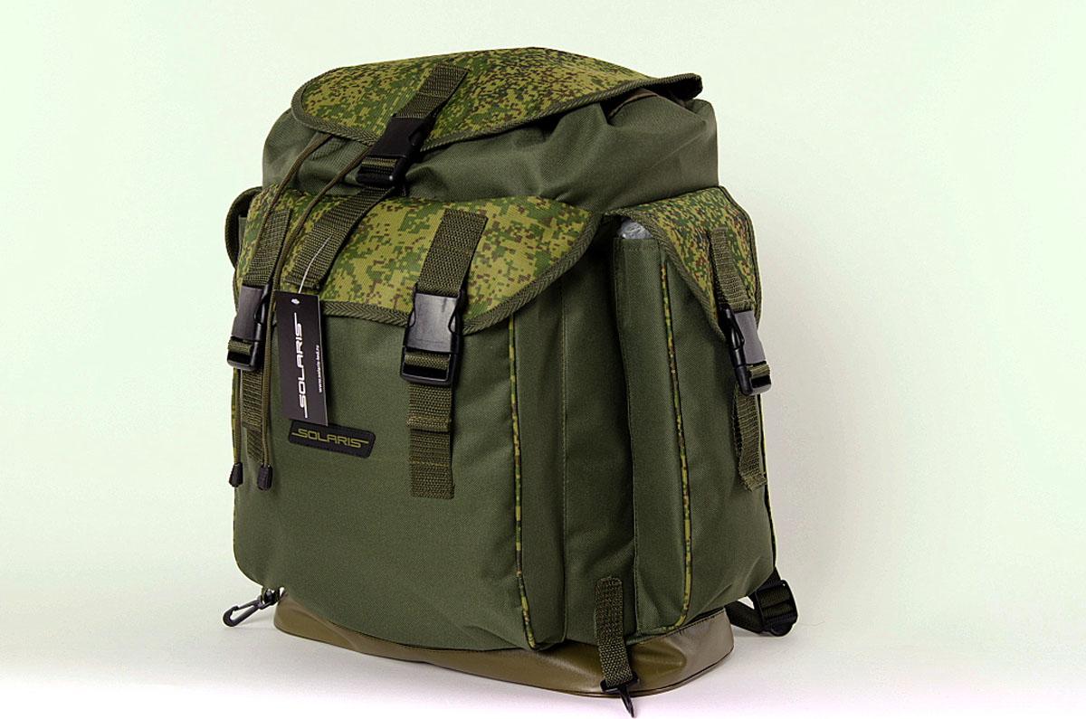 Рюкзак классический Solaris, цвет : оливковый, 43 л. S5305BP-001 BKРюкзак классического дизайна, выполненный высококачественной износостойкой непромокаемой ткани ПВХ, идеально подойдёт для поездок на охоту и рыбалку, пикников, командировок, автопутешествий. Днище рюкзака сделано из высокопрочной водонепроницаемой тентовой ткани, что обеспечивает дополнительную защиту от повреждений - из такой ткани изготавливают тенты грузовиков. Благодаря достаточно компактным размерам рюкзак можно использовать и для городских поездок на каждый день. Рюкзак имеет 4 отделения: основное отделение, два боковых кармана и задний карман. Основное отделение имеет двойной клапан для лучшей защиты от погодных факторов: утягивающаяся с помощью шнура горловина и верхний клапан с пряжкой-замком.Быстрый доступ к вещам в заднем кармане рюкзака также обеспечивают пряжки-замки. Два пластиковых карабина по бокам от заднего кармана - для крепления дополнительного снаряжения: котелка, инструментов, запасного ножа или мачете, пакетов с пищей или мелкими вещами и т.п. Общий объём рюкзака: 43 литра. Размер: 36 х 20 х 56см.