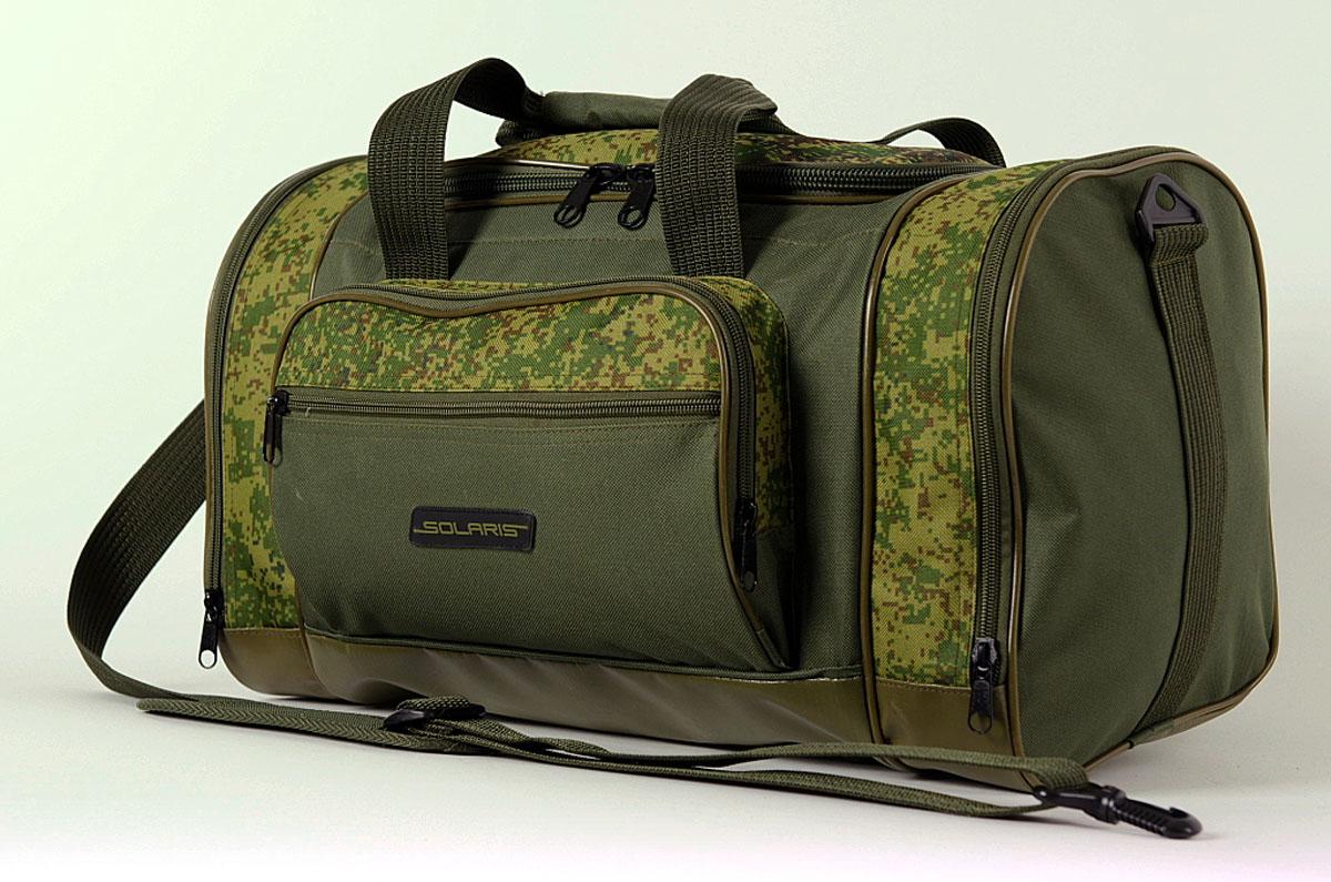 Сумка дорожная Solaris, с тентовым дном, цвет: оливковый, 36 л. S511422-0570 SСамая компактная дорожная сумка из высококачественной износостойкой непромокаемой ткани ПВХ, отлично подойдёт для поездок на охоту и рыбалку, пикников, командировок, занятий спортом, автопутешествий. Днище сумки сделано из высокопрочной водонепроницаемой тентовой ткани, что обеспечивает дополнительную защиту от повреждений - из такой ткани изготавливают тенты грузовиков. Сумка имеет 5 отделений: основное отделение, два больших торцевых кармана, два накладных боковых кармана. Общий объём сумки: 36 литров. Размер: 49 х 26 х 28 см.