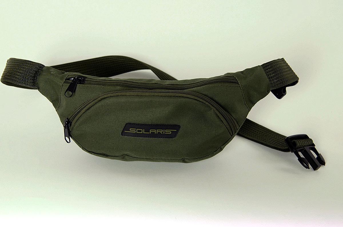 Сумка поясная Solaris, цвет: оливковый. S5401GVCK2U-00ML09-FC814S-K100Классическая поясная сумка из высококачественной износостойкой непромокаемой ткани ПВХ для автомобилистов, туристов и ношения в городе. Может использоваться в качестве дополнительного элемента экипировки вместе с дорожной сумкой или рюкзаком. Сумка имеет 3 отделения: основное отделение с внутренним потайным карманом на молнии и накладной карман спереди. Размеры сумки: 34 х 7 х 14 см, регулировка по талии от 85 до 132 см. Большая регулировка поясного ремня по талии позволяет носить сумку и на верхней одежде.