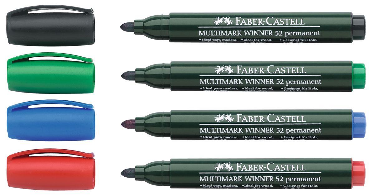Faber-Castell Маркер перманентный Winner 52 (4 шт)157804Прекрасные маркеры Faber-Castell Winner 52 будут правильным решением для вашей коллекции. Выбранная модель станет приятной покупкой или подарком для друга. Данные маркеры имеют эргономичную трехгранную область захвата. Изделия состоят из сырья высокого качества приятного оттенка. Идеально подойдут для всех видом бумаги, быстро высыхают, устойчивы к воздействию воды и стиранию. Дизайн маркеров выверен учитывая все подробности.
