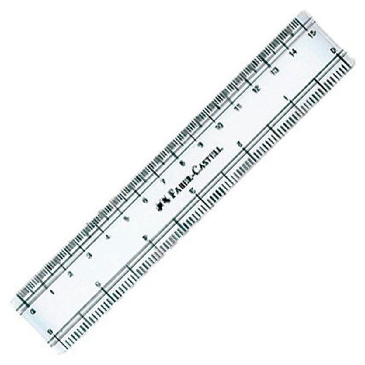 Faber-Castell Линейка 15 см170640Линейка Faber-Castell настолько прочная и удобная, что прекрасно подойдет как для школьного технического черчения, так и для более профессиональных измерительных или чертёжных работ. Изделие выполнено из качественного прозрачного пластика и имеет закругленные углы. Длина линейки -15 см.
