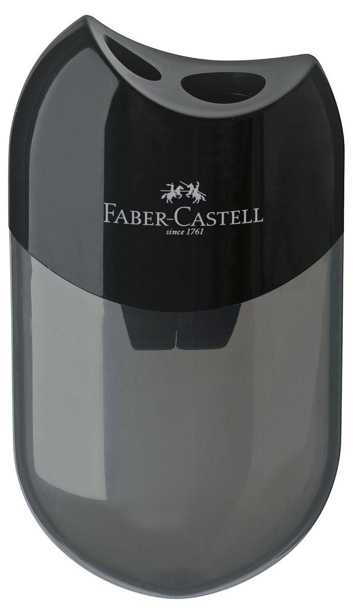 Faber-Castell Точилка с контейнером цвет черный 18350072523WDТочилка Faber-Castell выполнена из прочного пластика.В точилке два отверстия для классических, трехгранных, простых и цветных карандашей.Эргономичная форма контейнера обеспечивает стабильное положение кисти.Карандаш затачивается легко и аккуратно, а опилки после заточки остаются в специальном контейнереповышенной вместимости.