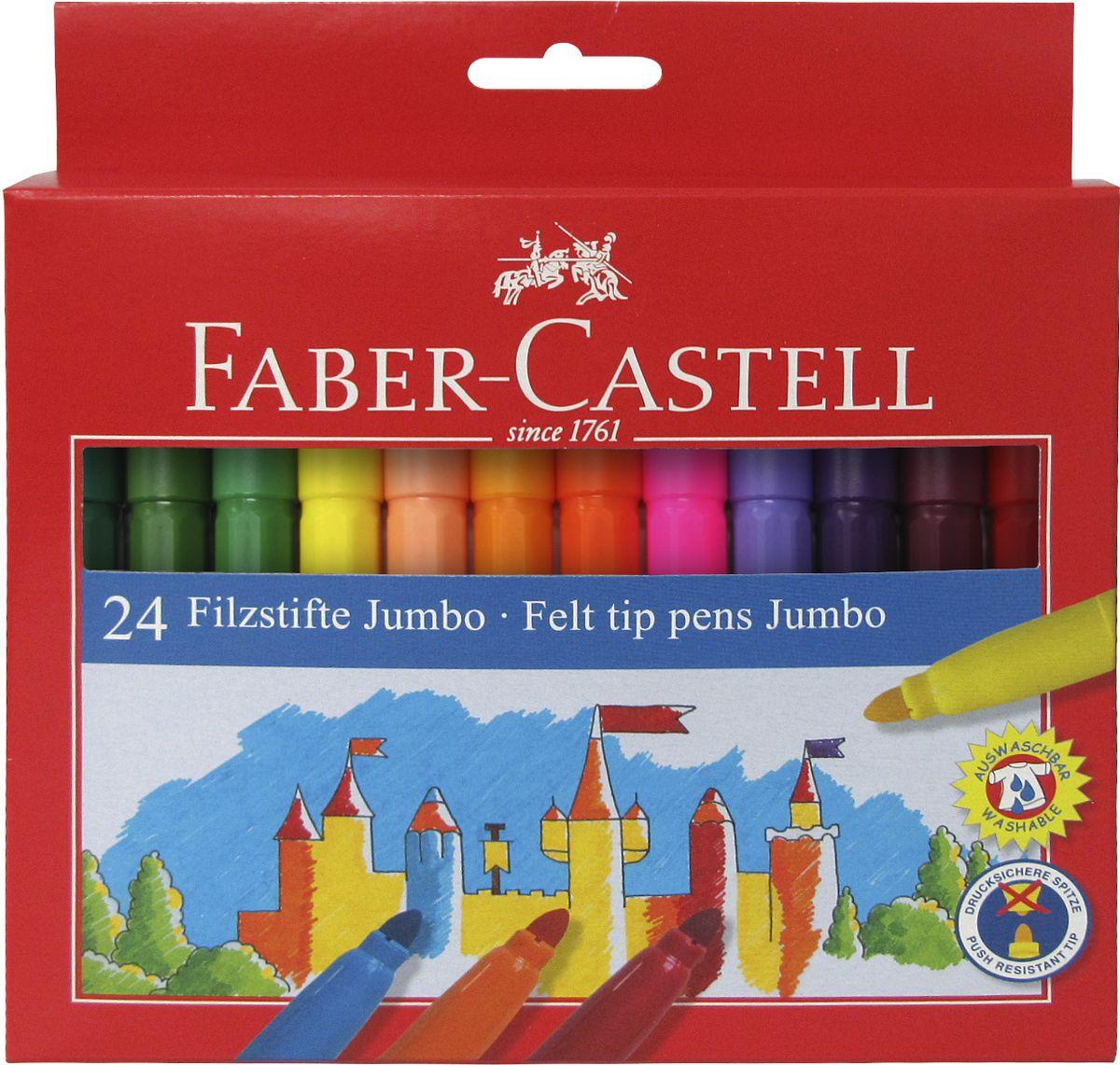 Faber-Castell Фломастеры Jumbo 24 цвета610842Фломастеры Faber-Castell Jumbo помогут маленькому художнику раскрыть свой творческий потенциал, рисовать и раскрашивать яркие картинки, развивая воображение, мелкую моторику и цветовосприятие. В наборе Faber-Castell Jumbo 12 разноцветных фломастеров. Корпусы выполнены из пластика. Чернила на водной основе окрашены с использованием пищевых красителей, благодаря чему они полностью безопасны для ребенка и имеют яркие, насыщенные цвета. Если маленький художник запачкался - не беда, ведь фломастеры отстирываются с большинства тканей. Вентилируемый колпачок надолго сохранит яркость цветов.Не рекомендуется детям до 3-х лет.