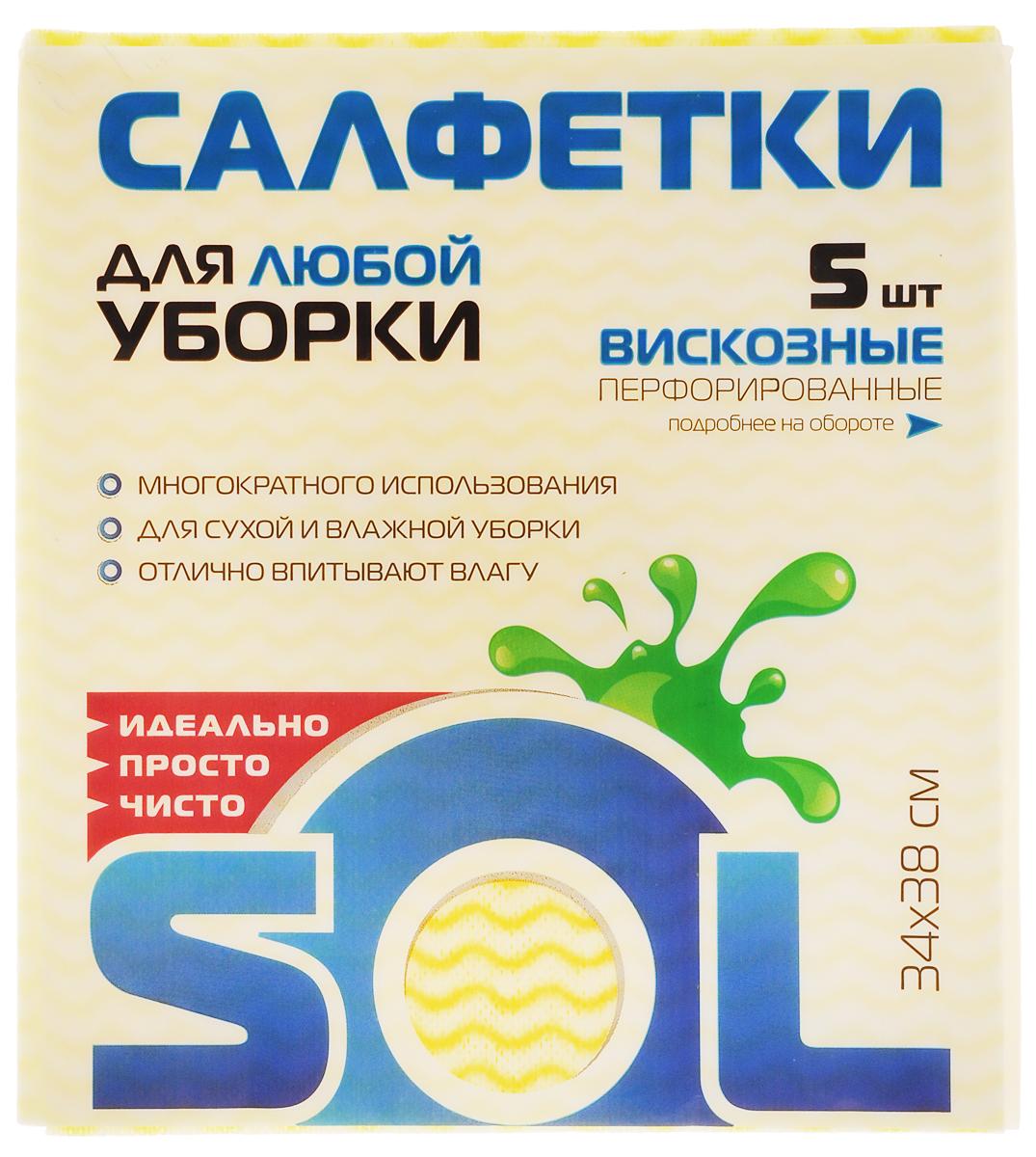 Салфетка для уборки Sol из вискозы, перфорированная, цвет: желтый, белый, голубой, 34 x 38 см, 5 шт10005/10053_желтый, белый, голубойПерфорированные салфетки для уборки Sol, выполненные из вискозы, предназначены для уборки и могут применяться с различными моющими средствами. Эффективно впитывают жидкость. Мягкие и прочные, легко отжимаются и быстро сохнут. Рекомендации по уходу: Для обеспечения гигиеничности уборки после применения прополоскать в теплой воде. Для продления срока службы не применять машинную стирку, не гладить и не кипятить.