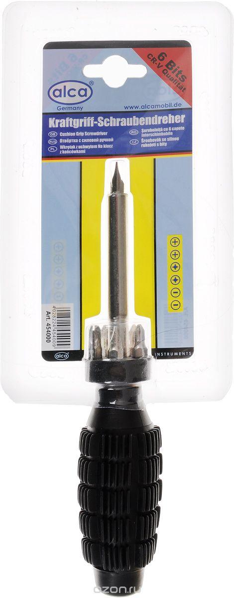 Отвертка Alca, с силовой ручкой, со сменными насадками, 6 бит454000Отвертка Alca с набором бит предназначена для монтажа и демонтажа резьбовых соединений. Биты изготовлены из хром-ванадиевой стали. Прорезиненная рукоятка отвертки обеспечит надежный и удобный хват. Отвертка фиксируется в держателе с помощью магнита. В набор входит: Отвертка-битодержатель. Удобное хранилище для бит. Биты: 6 шт.