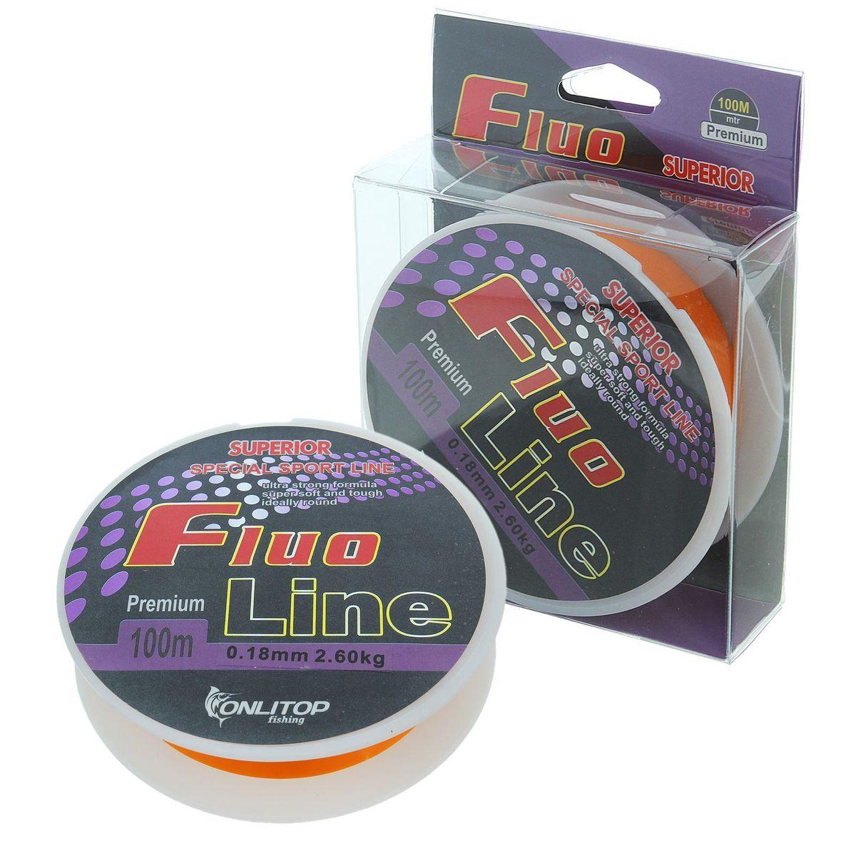 Леска Onlitop Fluo Line, цвет: оранжевый, 100 м, 0,18 мм, 2,6 кг1232669Во время технологического процесса волокна сплетаются и специально разработанным способом сплавляются в единое целое. В ходе такой обработки леска становится прочнее, чем совокупность составляющих ее волокон. Таким образом получается оптимальный синтез монофильной и плетеной лески.