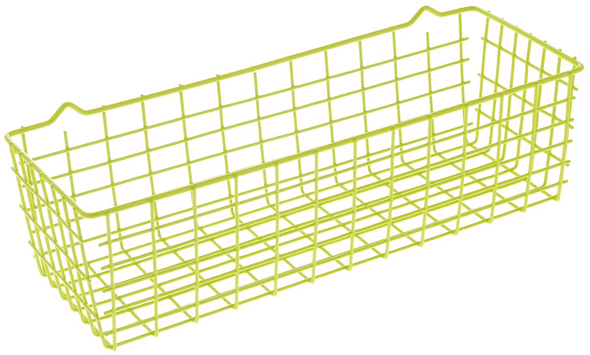 Корзина универсальная Metaltex Pandino, цвет: зеленый, 33 х 12 х 9 см36.17.00/94-528_зеленыйУниверсальная корзина Metaltex Pandino изготовлена из стали, покрытой краской с эпоксидным порошком. Изделие может использоваться для хранения принадлежностей для мытья посуды, различных бытовых предметов и мелочей, инструментов в гараже и многого другого. Корзина оснащена специальными петельками для подвешивания к стене.