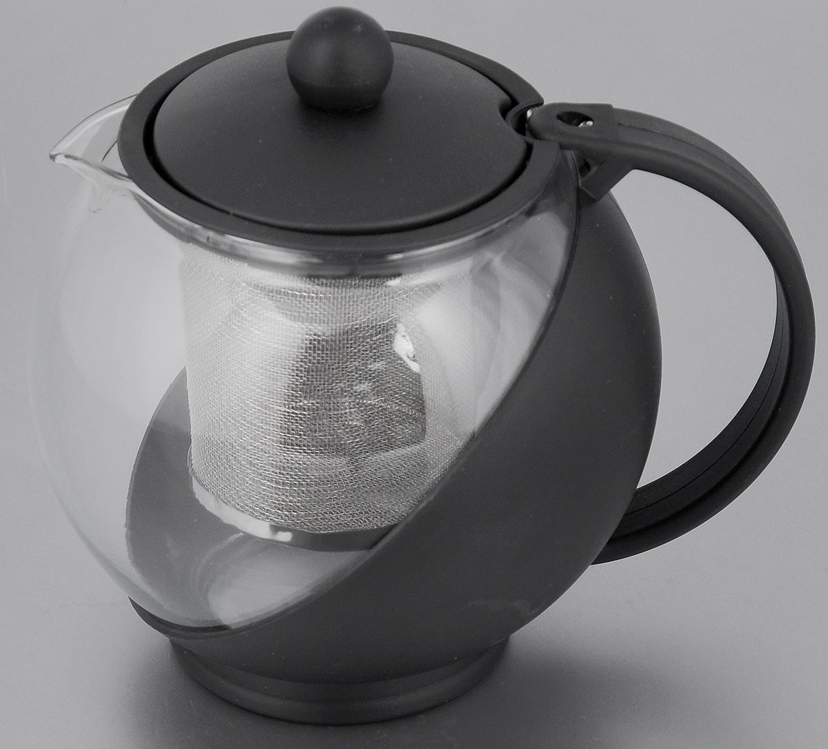 Чайник заварочный Mayer & Boch, с фильтром, цвет: прозрачный, черный, 750 мл. 2573825738_черныйЗаварочный чайник Mayer & Boch изготовлен из жаропрочного стекла и полипропилена. Чай в таком чайнике дольше остается горячим, а полезные и ароматические вещества полностью сохраняются в напитке. Чайник оснащен фильтром из нержавеющей стали и крышкой. Простой и удобный чайник поможет вам приготовить крепкий, ароматный чай. Диаметр чайника (по верхнему краю): 8 см. Высота чайника (без учета крышки): 11,5 см. Высота фильтра: 7,2 см.