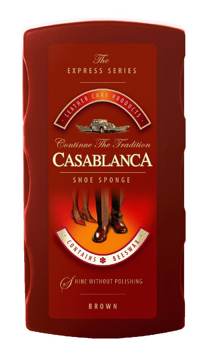 Губка для обуви Casablanca, цвет: коричневый. 11051105Универсальное средство для чистки обуви, обладает точечной дозацией и долгосрочным сроком хранения. Комбинированный состав, наносится на поролон с помощью точечной дотации. Это позволяет ввести состав в глубину поролоновой губки и тем самым дольше сохранить его от испарения. Губки обогащены пчелиным воском для придания идеального блеска вашей обуви.