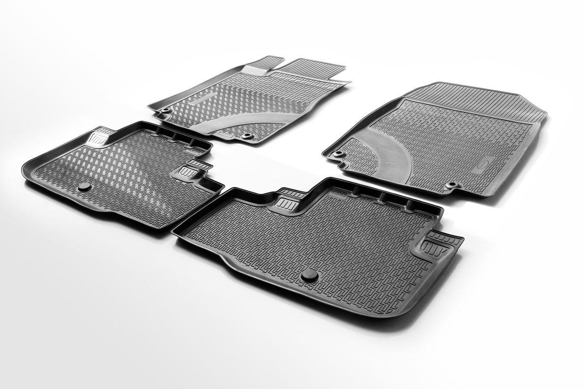 Коврики салона Rival для Honda CR-V 2012-2015, полиуретан0012101001Прочные и долговечные коврики Rival в салон автомобиля, изготовлены из высококачественного и экологичного сырья, полностью повторяют геометрию салона вашего автомобиля. - Надежная система крепления, позволяющая закрепить коврик на штатные элементы фиксации, в результате чего отсутствует эффект скольжения по салону автомобиля. - Высокая стойкость поверхности к стиранию. - Специализированный рисунок и высокий борт, препятствующие распространению грязи и жидкости по поверхности коврика. - Перемычка задних ковриков в комплекте предотвращает загрязнение тоннеля карданного вала. - Произведены из первичных материалов, в результате чего отсутствует неприятный запах в салоне автомобиля. - Высокая эластичность, можно беспрепятственно эксплуатировать при температуре от -45 ?C до +45 ?C. Уважаемые клиенты! Обращаем ваше внимание, что коврики имеет форму соответствующую модели данного автомобиля. Фото служит для визуального восприятия товара.