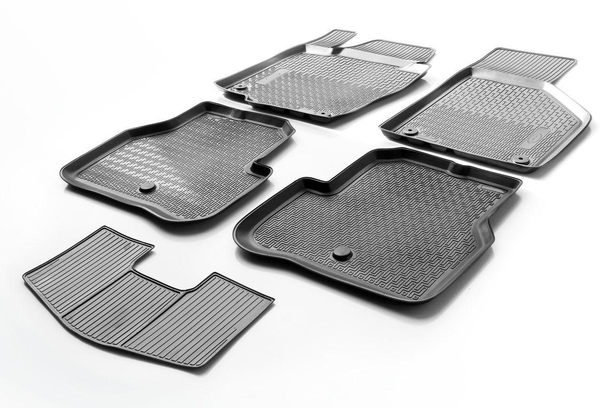 Набор автомобильных ковриков Rival, для Volkswagen Passat B7 2010-2015, в салон, с перемычкой, 4 шт0015803001Прочные и долговечные коврики Rival в салон автомобиля, изготовлены из высококачественного и экологичного сырья, полностью повторяют геометрию салона вашего автомобиля. - Надежная система крепления, позволяющая закрепить коврик на штатные элементы фиксации, в результате чего отсутствует эффект скольжения по салону автомобиля. - Высокая стойкость поверхности к стиранию. - Специализированный рисунок и высокий борт, препятствующие распространению грязи и жидкости по поверхности коврика. - Перемычка задних ковриков в комплекте предотвращает загрязнение тоннеля карданного вала. - Произведены из первичных материалов, в результате чего отсутствует неприятный запах в салоне автомобиля. - Высокая эластичность, можно беспрепятственно эксплуатировать при температуре от -45 ?C до +45 ?C. Уважаемые клиенты! Обращаем ваше внимание, что коврики имеет форму соответствующую модели данного автомобиля. Фото служит для визуального восприятия товара.