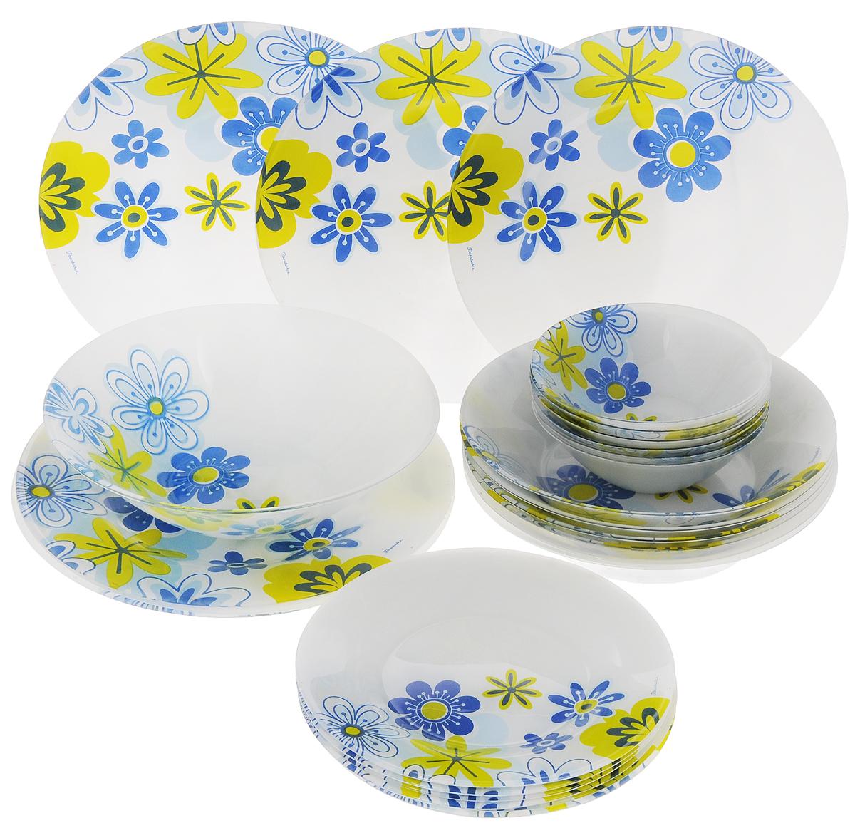 Набор столовой посуды Pasabahce Workshop Spring, 25 предметов95665BСтоловый набор Pasabahce Workshop Spring состоит из шести суповых тарелок, шести десертных тарелок, шести обеденных тарелок и семи салатников. Предметы набора выполнены из натрий-кальций-силикатного стекла, благодаря чему посуда будет использоваться очень долго, при этом сохраняя свой внешний вид. Предметы набора имеют повышенную термостойкость. Набор создаст отличное настроение во время обеда, будет уместен на любой кухне и понравится каждой хозяйке. Красочное оформление предметов набора придает ему оригинальность и торжественность. Практичный и современный дизайн делает набор довольно простым и удобным в эксплуатации. Предметы набора можно мыть в посудомоечной машине. Диаметр суповой тарелки: 22 см. Высота стенок суповой тарелки: 5 см. Диаметр обеденной тарелки: 26 см. Высота обеденной тарелки: 2 см. Диаметр десертной тарелки: 20 см. Высота десертной тарелки: 1,5 см. Диаметр большого салатника:...