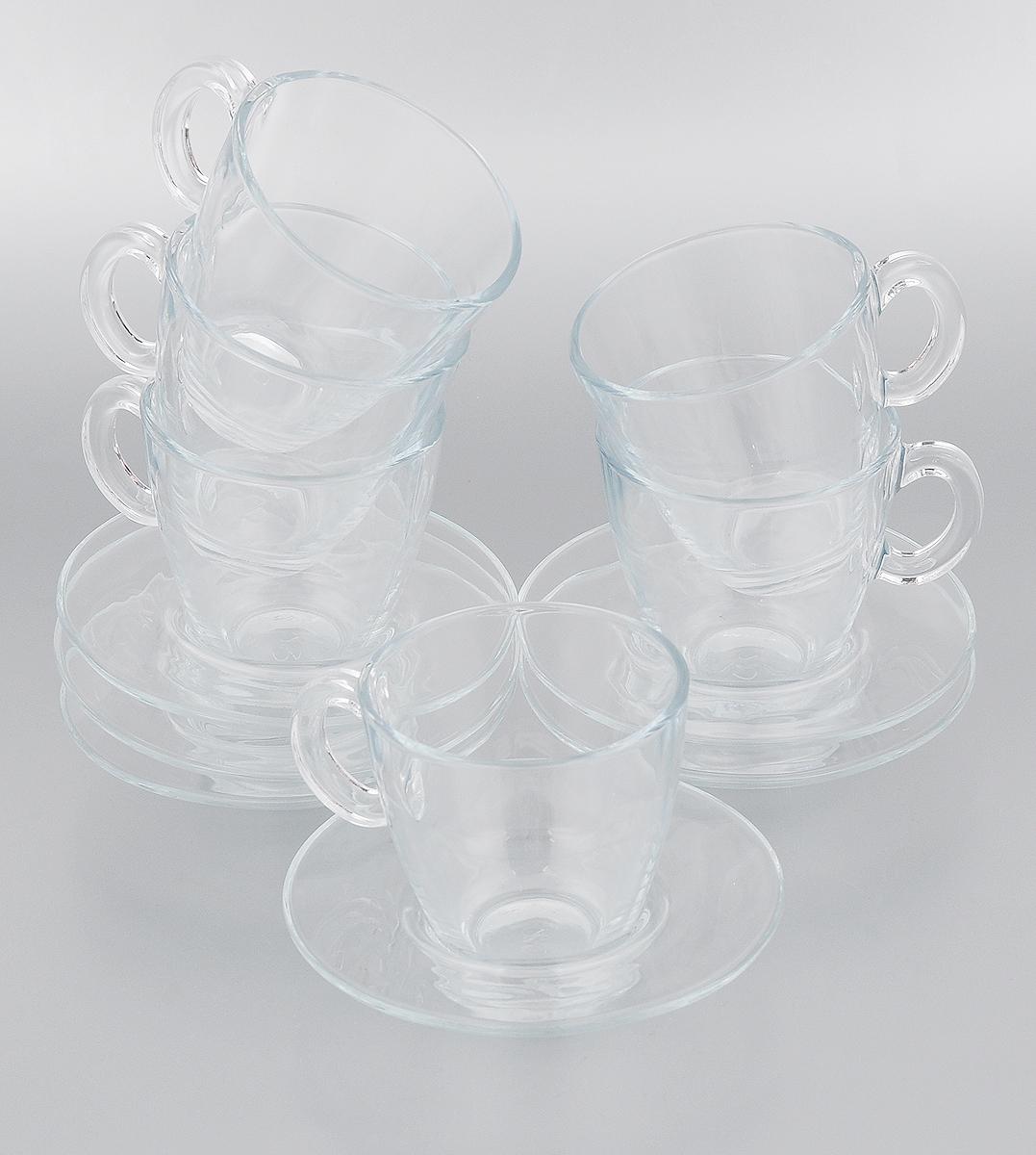 Набор чайный Pasabahce Aqua, 12 предметов95040BTЧайный набор Pasabahce Aqua состоит из шести чашек и шести блюдец. Предметы набора изготовлены из прочного натрий-кальций-силикатного стекла. Изящный чайный набор великолепно украсит стол к чаепитию и порадует вас и ваших гостей ярким дизайном и качеством исполнения. Можно использовать в микроволновой печи, в холодильнике и мыть в посудомоечной машине. Диаметр чашки по верхнему краю: 8 см. Высота чашки: 8 см. Объем чашки: 215 мл. Диаметр блюдца: 13 см. Высота блюдца: 2,5 см.