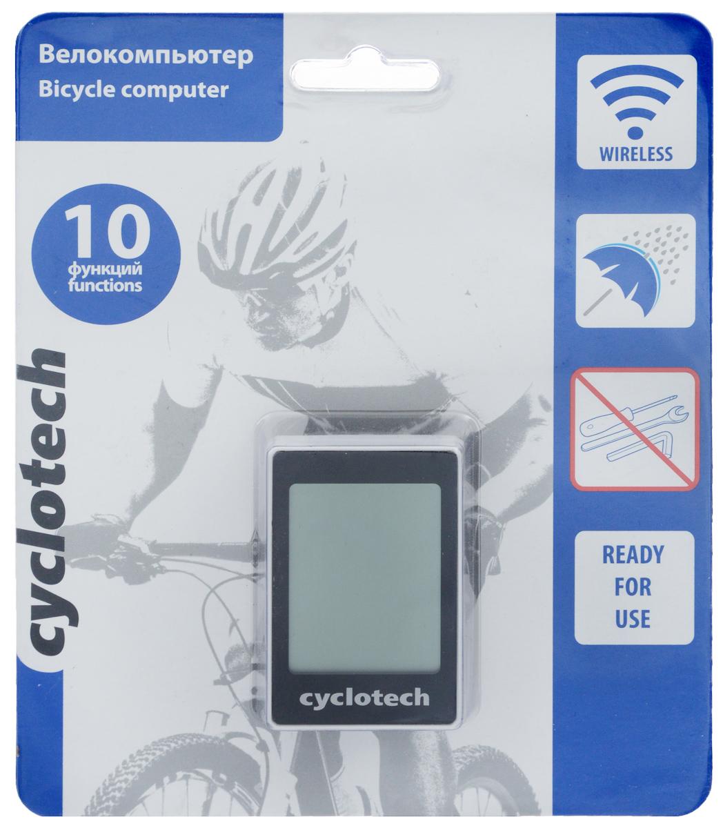 Велокомпьютер Cyclotech, 10 функцийCBC-W10NПроводной велокомпьютер Cyclotech оснащен 10 функциями и предназначен для использования при занятиях велоспортом. Это удобный и простой в использовании электронный прибор, предоставляющий велосипедисту всю необходимую информацию о поездке. Велокомпьютер крепится на руле с возможностью мгновенно отсоединить его, когда нет желания оставлять на велосипеде без присмотра или под дождем. Функции: сравнение скоростей; индикатор низкой зарядки батарей; режим сканирования; память на два велосипеда; автоматическое выключение; часы; режим энергосбережения; время текущей поездки; расчет экономии СО2.