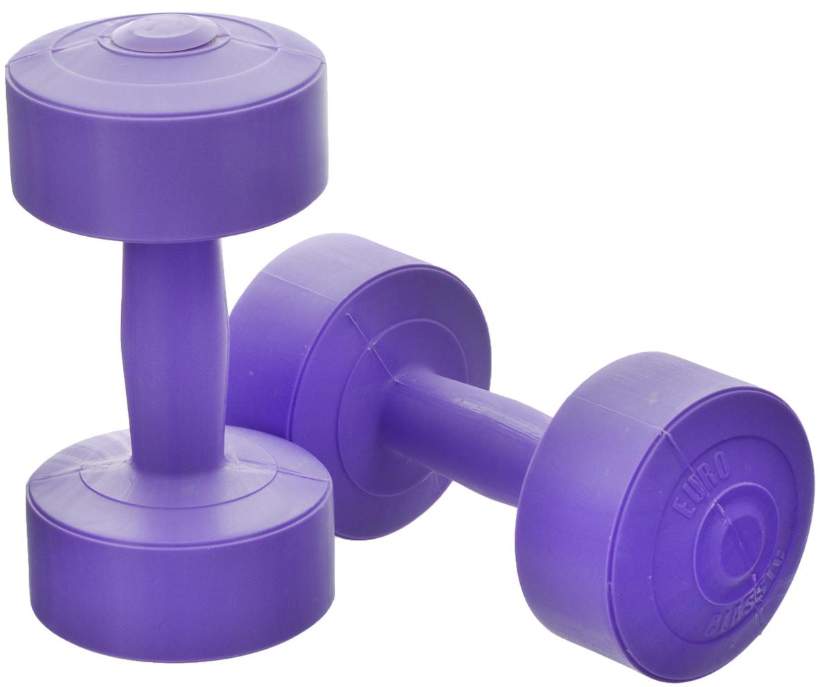 Гантели виниловые Euro-Classic, цвет: сиреневый, 2 кг, 2 штГв2_сиреневыйГантели Euro-Classic идеально подходят как для тренировок дома, так и в офисе. Гантели помогают укрепить мышцы рук, грудной клетки, верхней части спины и плеч. Внешнее покрытие изделий выполнено из прочного ПВХ, наполнитель - композитная смесь цемента и песка.
