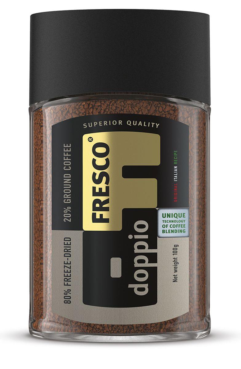 Fresco Doppio кофе растворимый, 100 г8051070320415Кофе Fresco Doppio создан по уникальной технологии производства растворимого кофе высшего качества, при которой молотый жареный кофе арабика премиум становится неотъемлемой частью каждого кристалла сублимированного кофе. Насыщенный плотный вкус и неповторимый стойкий аромат свежезаваренного кофе – уникальная особенность этого напитка.