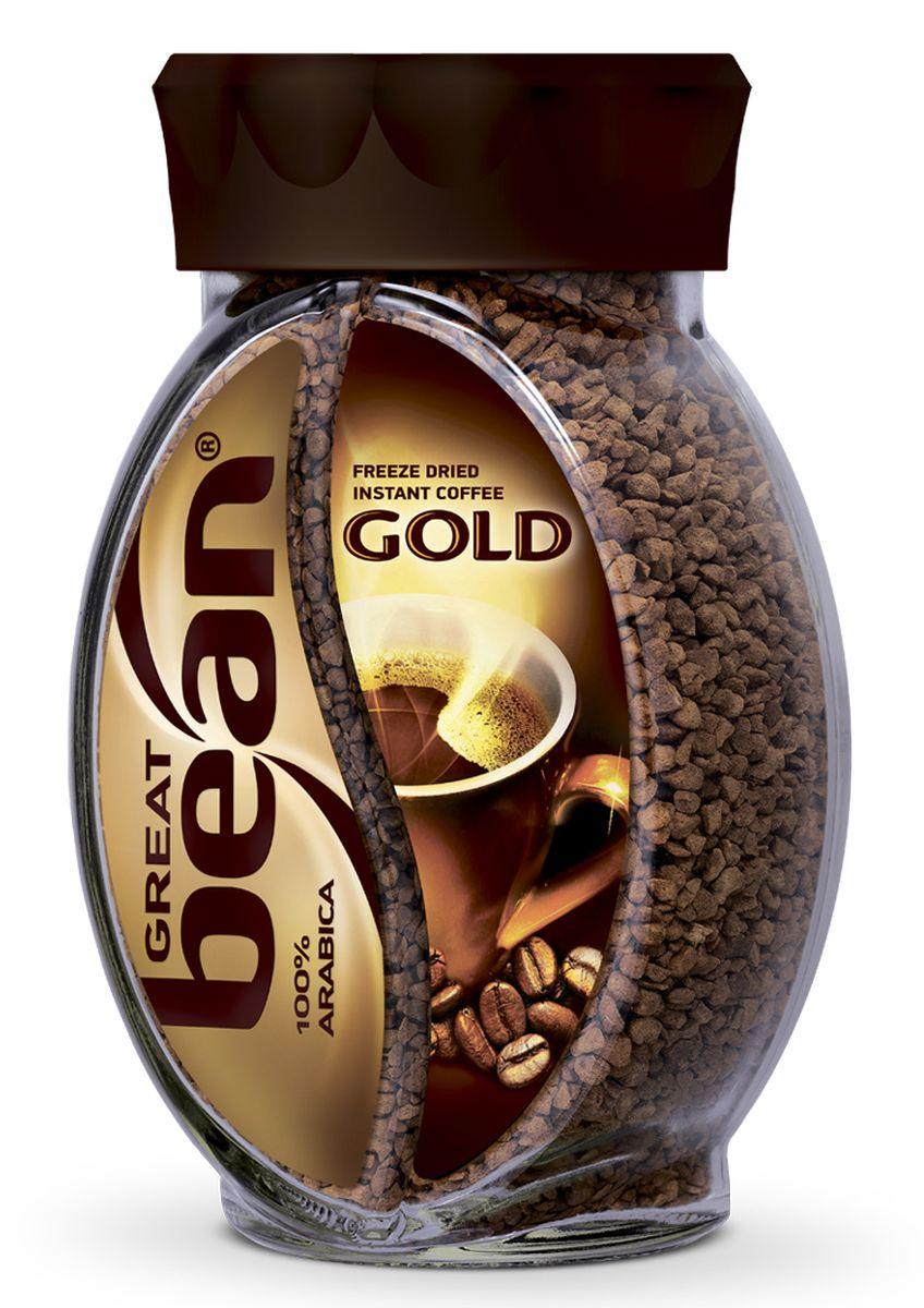 Great Bean Gold кофе растворимый, 100 г0120710Сублимированный кофе Great Bean Gold создан из отборных зерен арабики, выращенных на открытых солнцу холмах Южной Америки. Напиток имеет благородный вкус и аромат.