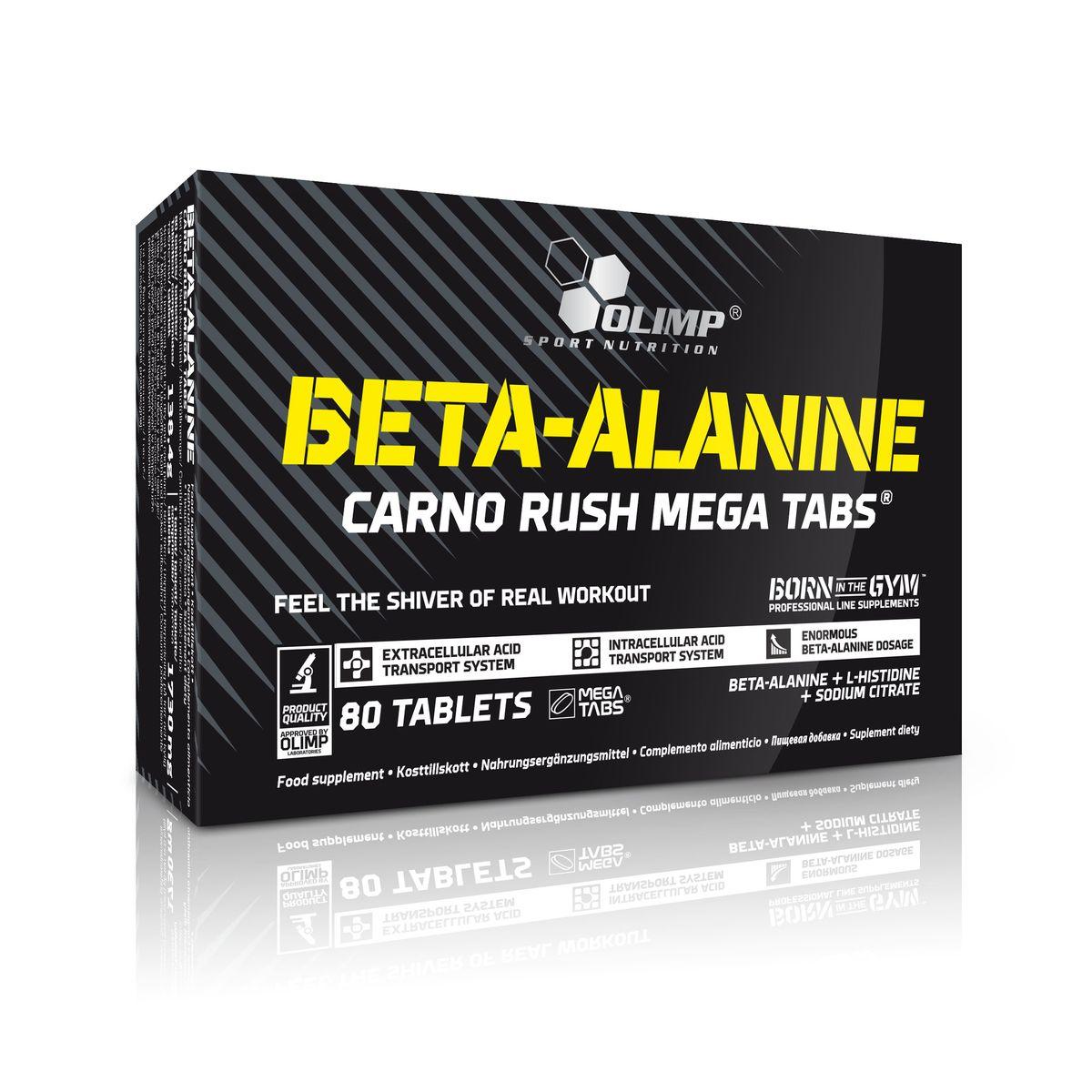 OLIMP Бэта Аланин Карно Раш Мега Табс, 80 табO40719Beta-Alanine при регулярном приеме повышает уровень карнозина. Увеличение карнозина позволяет мышцам работать интенсивнее. При этом, увеличение мышечной выносливости происходит без изменения гормонального фона. Карнозин повышает анаэробный порог, что хорошо сказывается не только на тренировках в зале, но и на спринтерской дорожке. Beta-Alanine также является антиоксидантом. Olimp Beta-Alanine Carno Rush содежит 4г бета-аланина на порцию и транспортную матрицу которая позволит быстро и без потерь преодолевать желудочный барьер. Рекомендации по применению: Принимайте по 2-4 капсулы перед тренировкой.