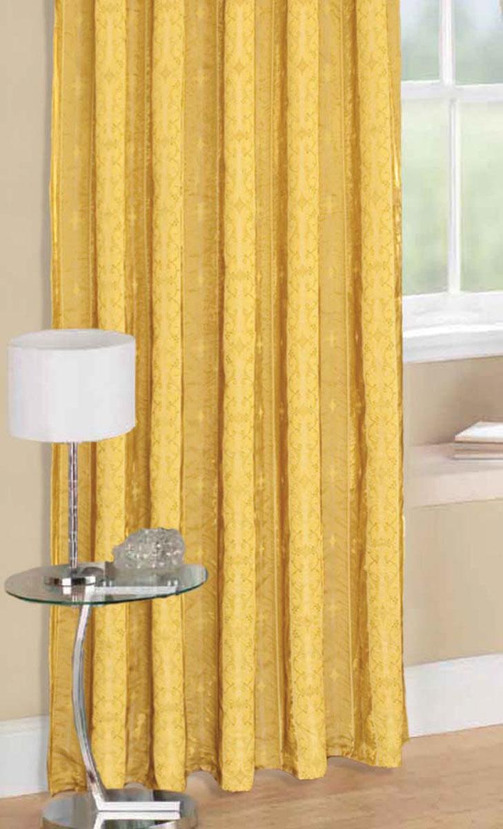 Комплект штор Стиль, на ленте, цвет: шоколадный, высота 270 см78955Легкая портьерная ткань с блеском. Стирка не более 30 градусов.