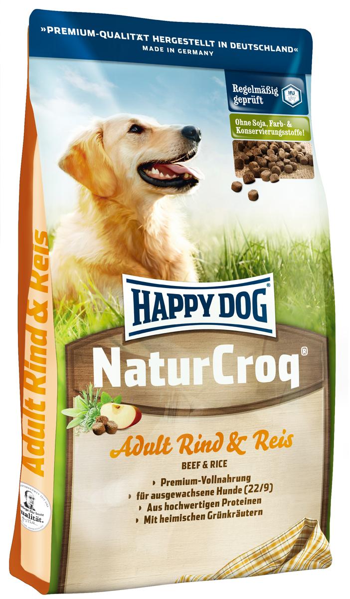 Корм сухой Happy Dog Natur Croq для взрослых собак, с говядиной и рисом, 15 кг2445Happy Dog Natur Croq - легко усваиваемый полнорационный корм класса премиум. Корм оптимально подходит для взрослых собак всех пород с нормальной потребностью в энергии. Хрустящие гранулы содержат качественные ингредиенты: говядину, рис, полезную цельнозерновую смесь, ценные травы, а также все витамины и минеральные вещества, необходимые для сбалансированного питания вашей собаки. Сбалансированный полнорационный корм, содержащий все нужные питательные вещества. Не содержит красителей, консервантов и сои. Легко усваивается благодаря высокому качеству. Состав: мясопродукты (12%, в том числе говядина 70%), цельные зерна пшеницы, цельные зерна кукурузы, пшеничная мука, цельные зерна ячменя, рисовая мука (7%), кукурузная мука, птичий жир, говяжий жир, птица, рыба, гемоглобин, гидролизат печени, свекольная пульпа, яблочная пульпа (0,8%), дрожжи сухие, ростки солода, хлорид натрия, овес сушеный, подсолнечник сушеный, листья салата сушеные, ...