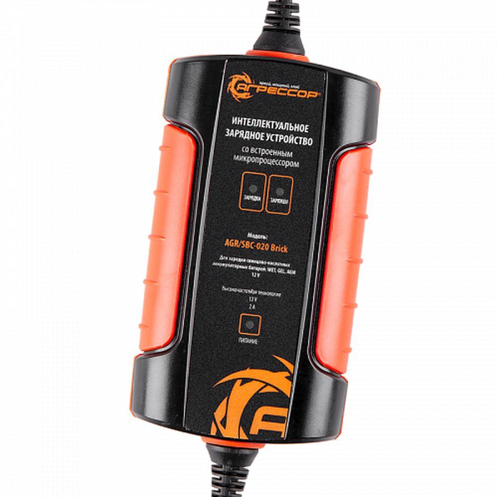 Цифровое зарядное устройство Autoprofi Агрессор, для 12V АКБ WET, AGM, GEL.AGR/SBC-020 BrickКомпактное зарядное устройство для свинцово-кислотных АКБ 12В. Особенности устройств: 3-ступенчатая зарядка, режим восстановления батареи, подзарядка аккумулятора при температуре ниже +5 градусов. Зажимы универсальные на любые клеммы автомобильных аккумуляторов. Встроенный микропроцессор для контроля параметров заряжания и диагностики неисправностей. Подходит только для свинцово-кислотных АКБ! Высокочастотное зарядное устройство подходит для всех типов аккумуляторных батарей – встроенный микропроцессор позволяет установить для каждого типа свой режим. Компактное зарядное устройство имеет три ступени зарядки, за счет этого полностью разряженную батарею можно зарядить до 100% от первоначальной емкости. Рабочие характеристики не снижаются при низких температурах. Устройство может сколь угодно долго оставаться подключенным к аккумулятору, поддерживая требуемый заряд. Оснащено защитой от короткого замыкания. Зарядное устройство имеет три вида контактных клемм: зажимы, разъем для...