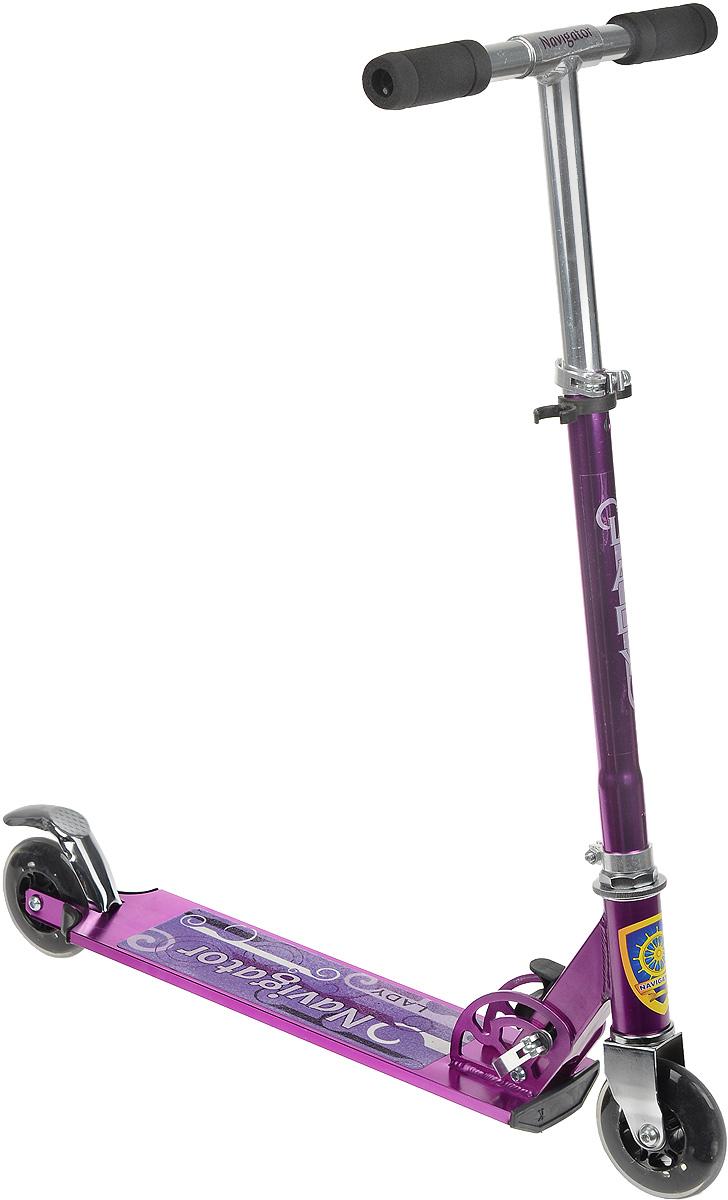 Navigator Cамокат двухколесный Lady цвет фиолетовыйТ56804_фиолетовыйЯркий двухколесный самокат Navigator Lady разработан специально для девочек. Он имеет регулировку руля по высоте, что способствует его длительному использованию. Самокат имеет легкую и прочную раму, прекрасно едет по ровной поверхности и не оставит вашу маленькую леди равнодушной. Максимальная нагрузка - 70 кг. Катание на самокате - одно из любимых занятий детей. Оно приобретает большую популярность, поскольку не требует специальных навыков. Самокат дает возможность не только замечательно провести досуг, но и обеспечить определенное физическое развитие его владельцу. Порадуйте своего ребенка таким замечательным подарком!