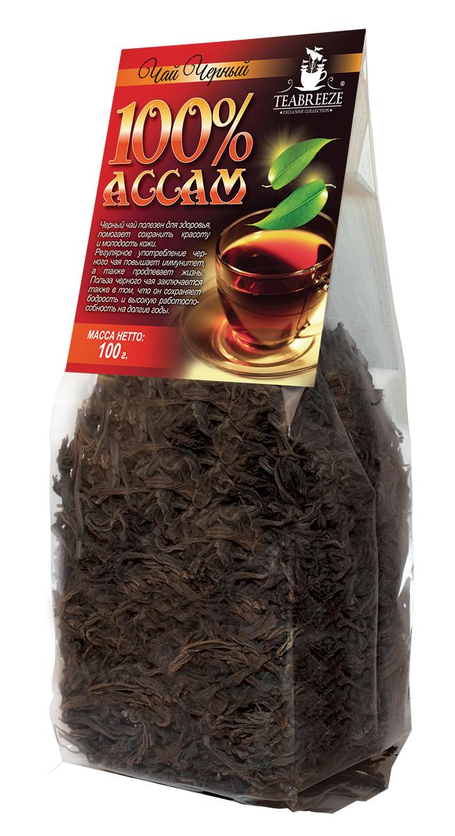 Teabreeze Ассам крупнолистовой черный байховый чай, 100 г0120710Ассам легко определить по специфическому, пряному, немного цветочному аромату с необычными для черного чая медовыми нотками. Может сочетается с молоком, сахаром и лимоном, но для более полного удовольствия от ассамовского послевкусия лучше этого избежать. Для лучшего ощущения послевкусия, после каждого глотка воздух надо выдыхать наполовину через рот, а наполовину через нос. Наградой за это будет легкий солодовый привкус с почти ментоловым свежим оттенком.