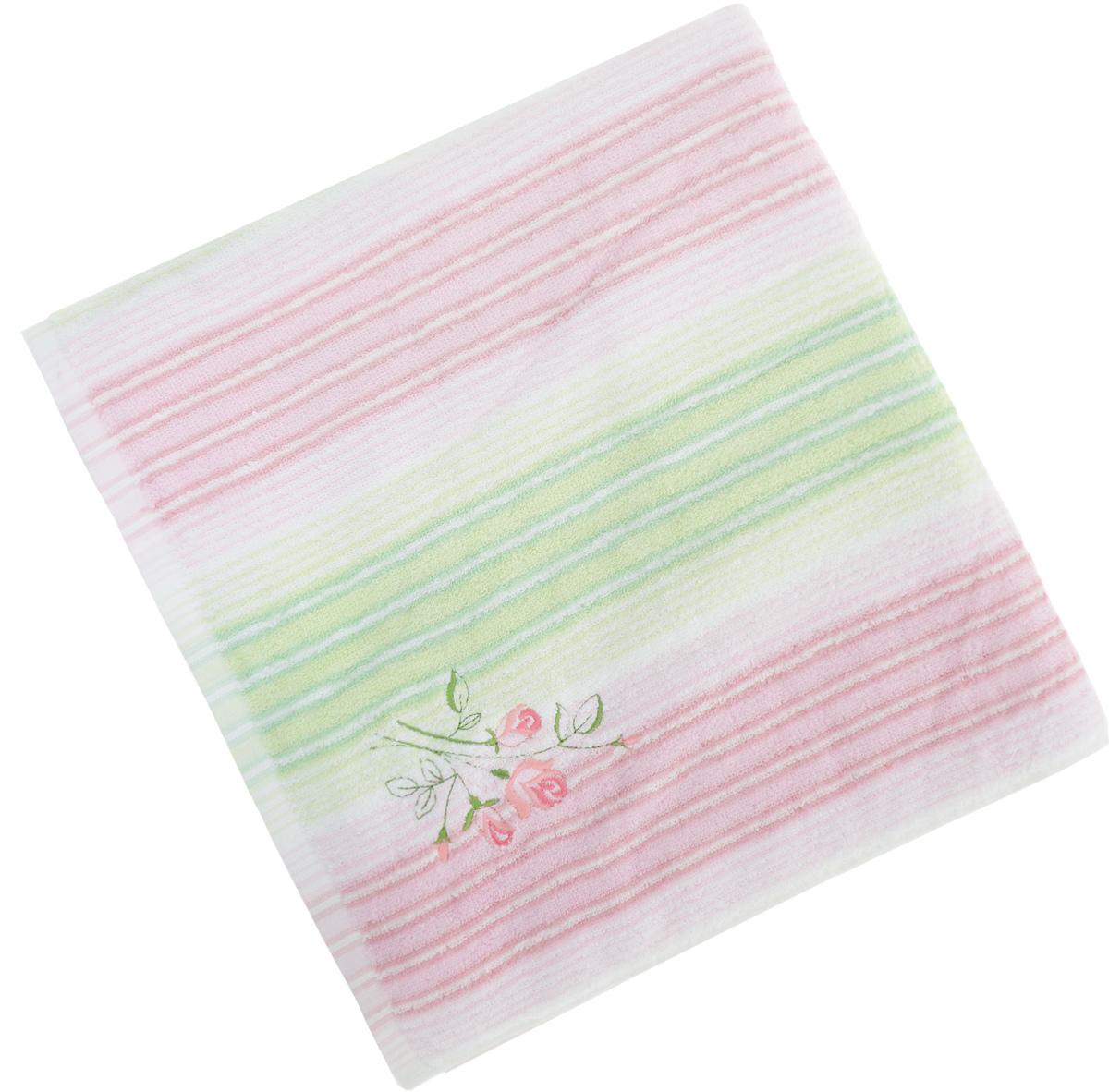 Полотенце Soavita Premium. Donato, цвет: белый, розовый, зеленый, 70 х 140 см65443Полотенце Soavita Premium. Donato выполнено из 100% хлопка. Изделие отлично впитывает влагу, быстро сохнет, сохраняет яркость цвета и не теряет форму даже после многократных стирок. Полотенце очень практично и неприхотливо в уходе. Оно создаст прекрасное настроение и украсит интерьер в ванной комнате.